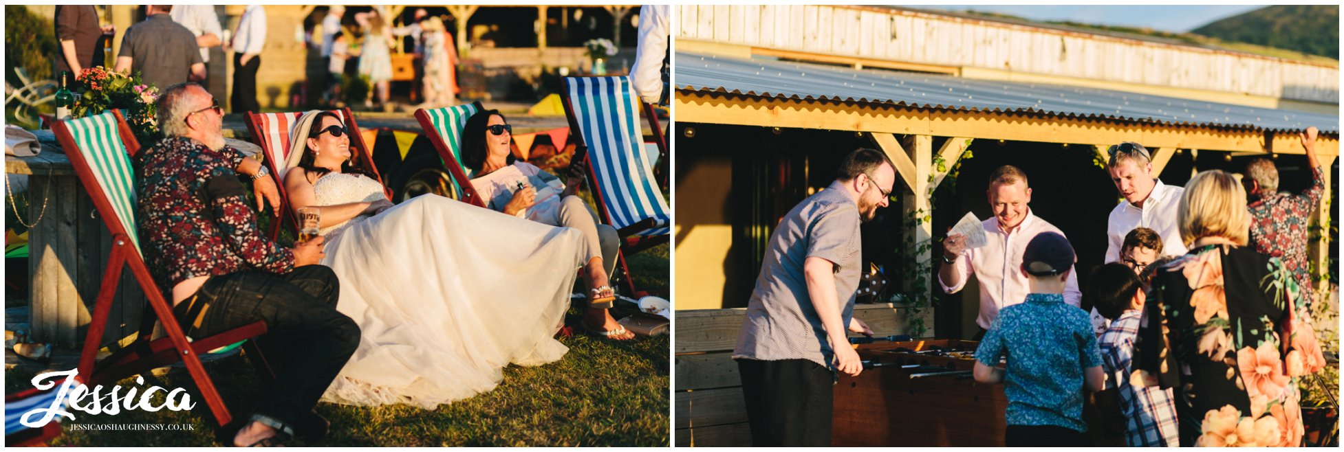 the bride chills out with her friends on the deck chair