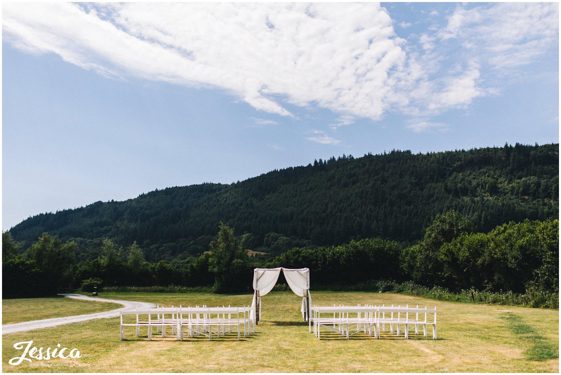 The chuppah set up ready for the outdoor wedding at hafod farm
