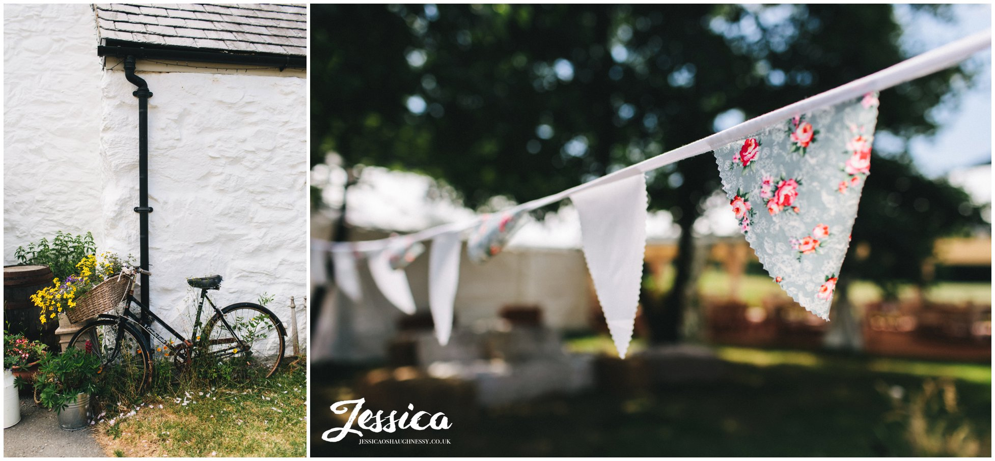 bunting decorates the north wales wedding venue