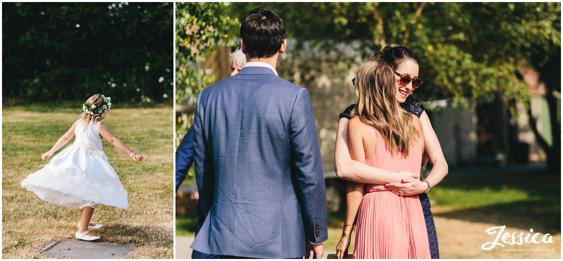 guests greet each other after the outdoor wedding ceremony