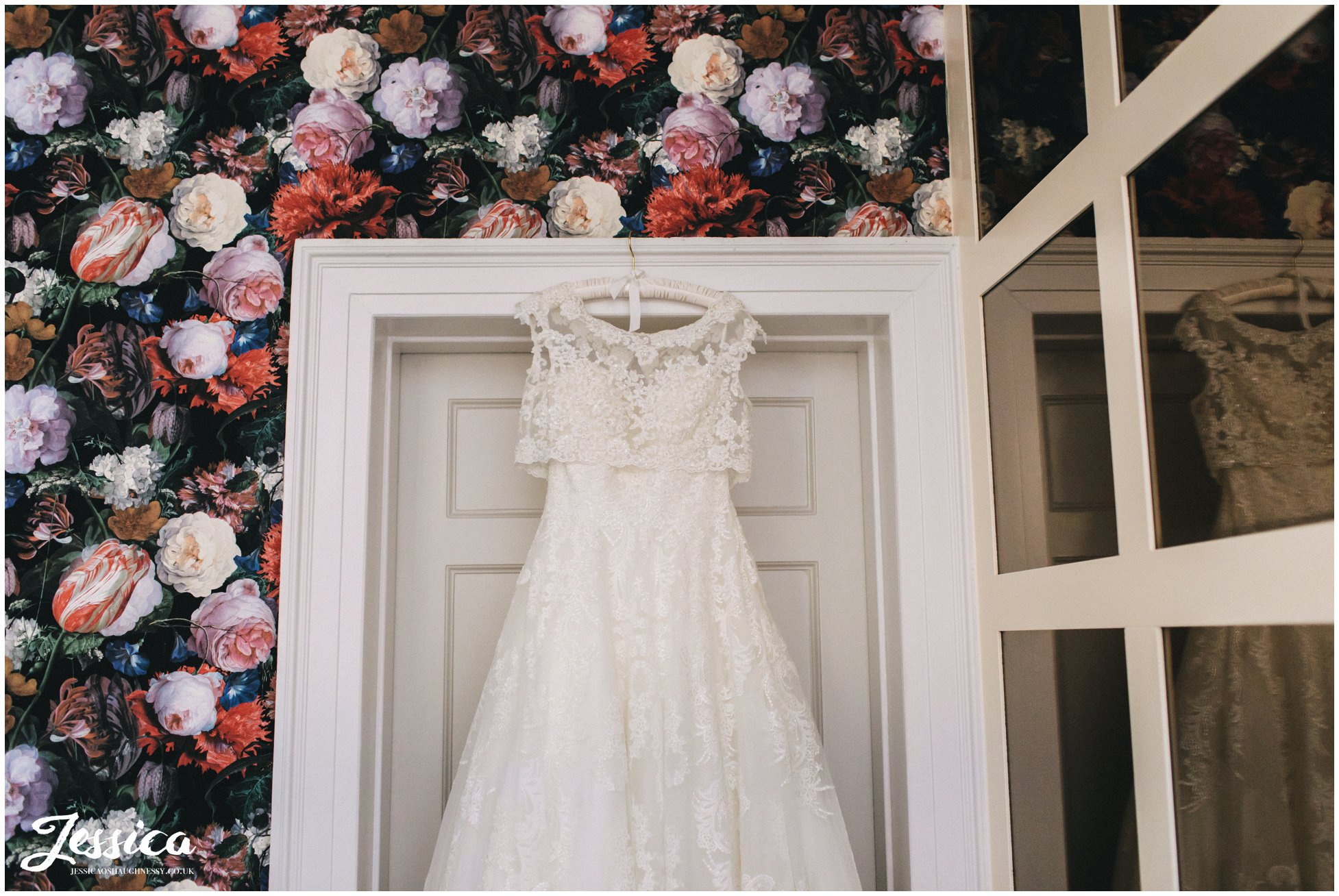 wedding dress hung in the bridal suite at bartle hall