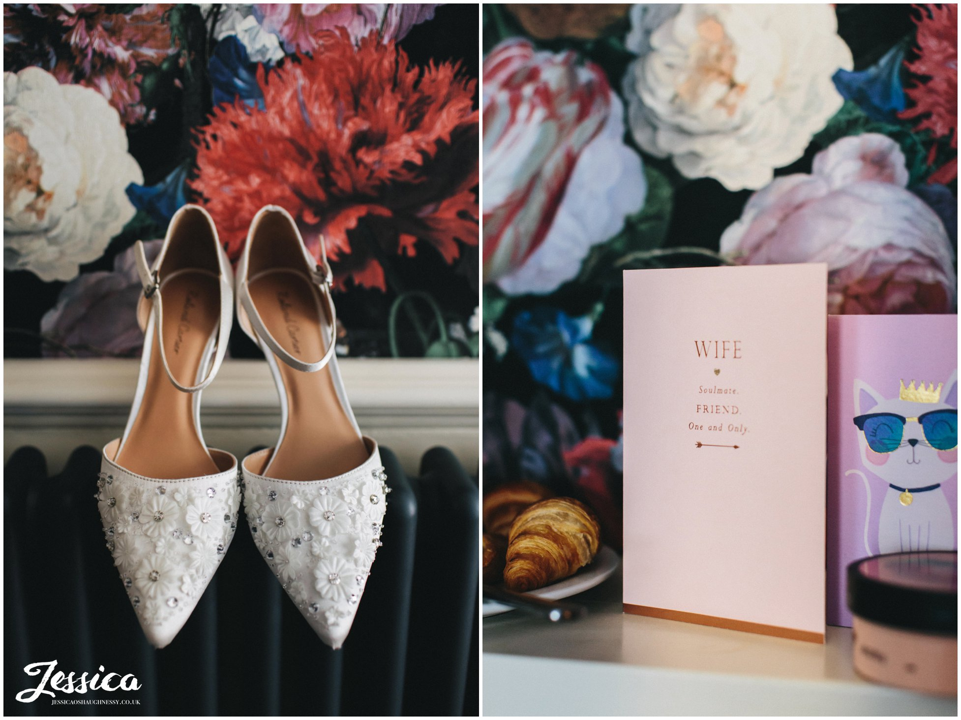 Brides shoes hung against the floral wallpaper