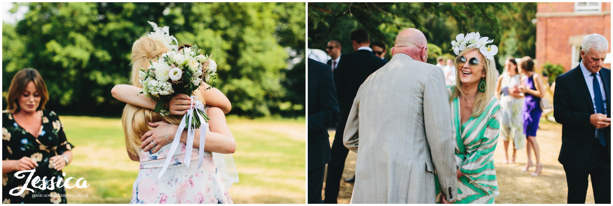 wedding guests enjoy the weather standing in the north west wedding venues grounds