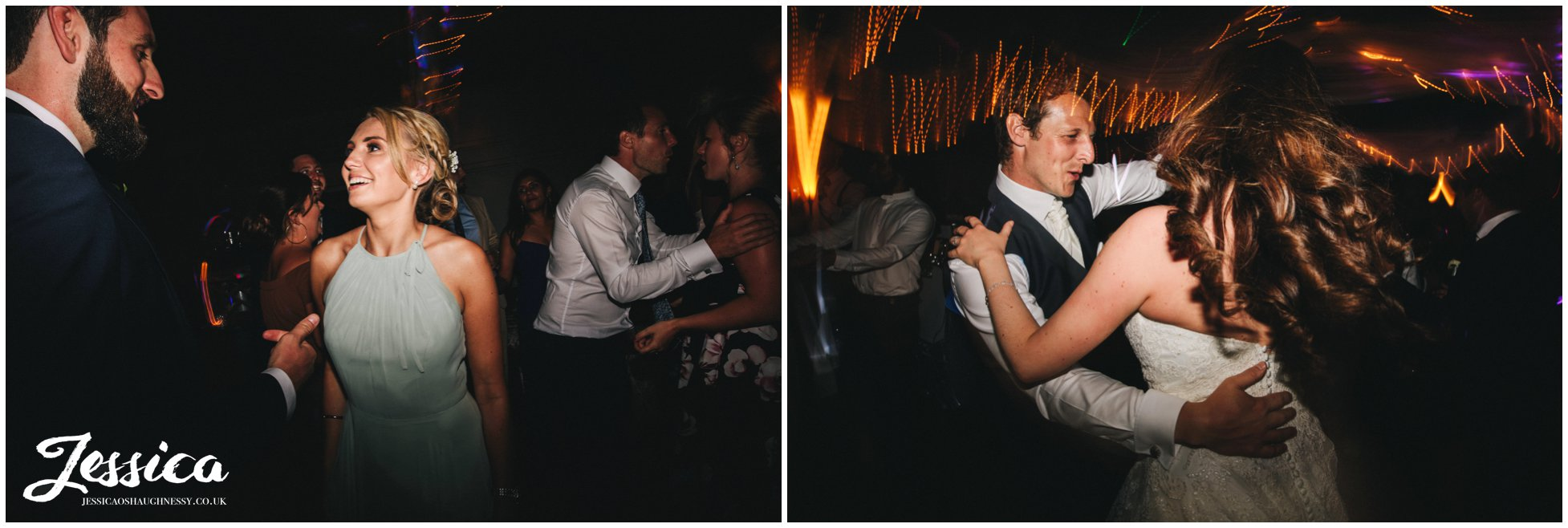 guests join the couple on bartle hall dancefloor