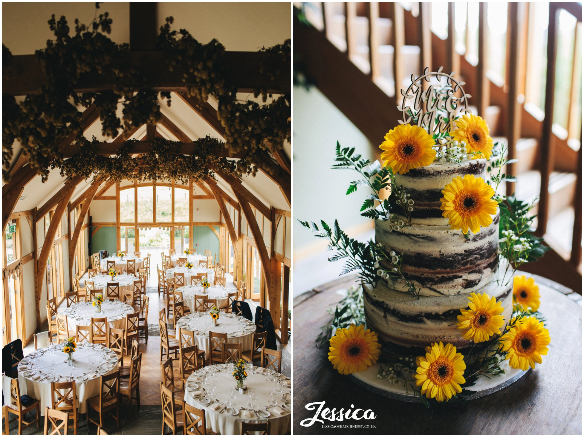 wedding cake decorated in rustic yellow flowers