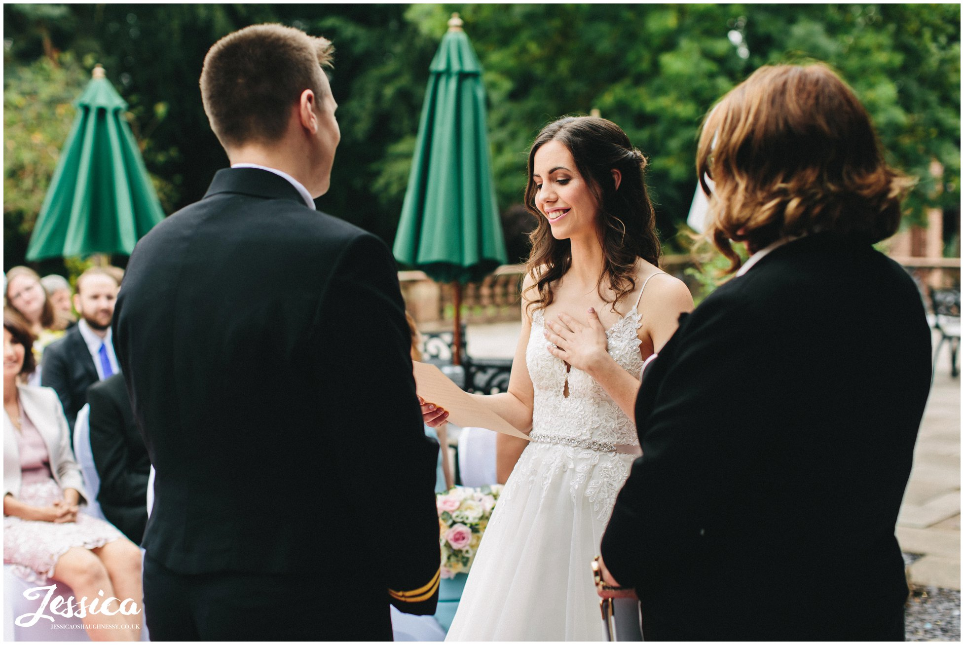 the bride reads personalised vows during the inglewood manor wedding ceremony