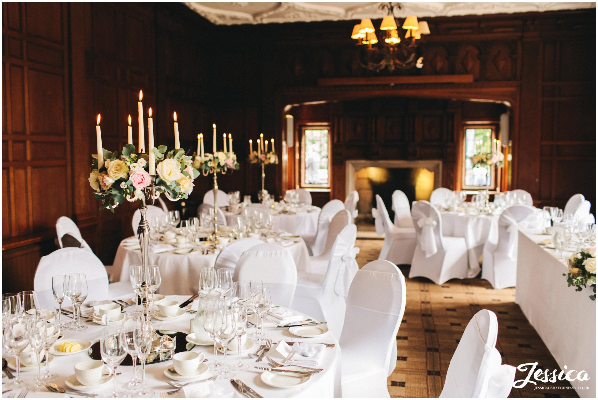 inglewood manor dressed with flower and candles for the wedding breakfast