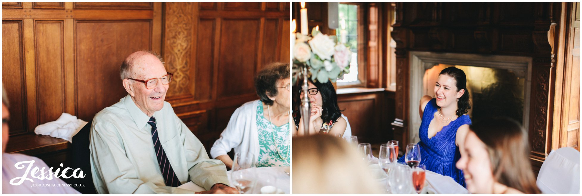grandad laughs during the speeches at inglewood manor