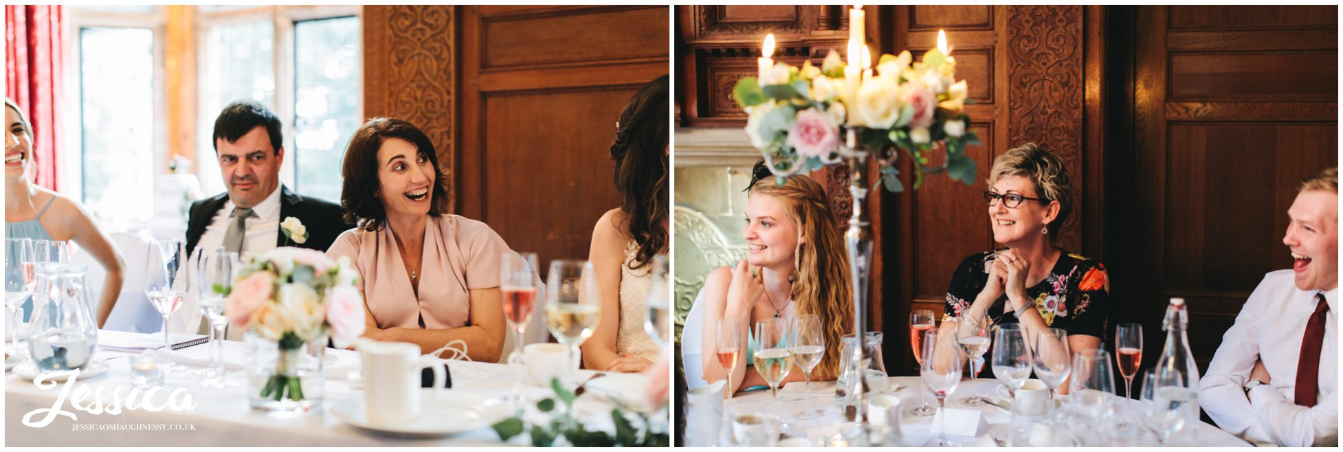 family & friends of the couple enjoy the speeches at inglewood manor in cheshire