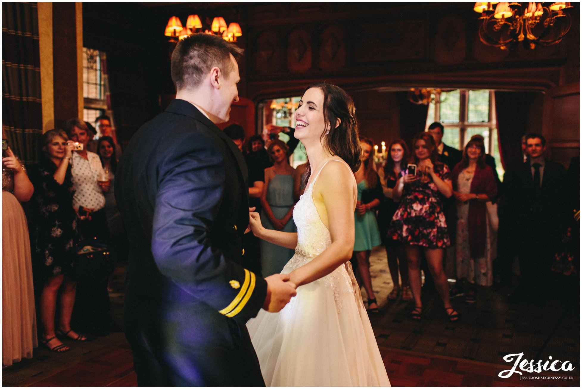 newly wed's share their first dance together