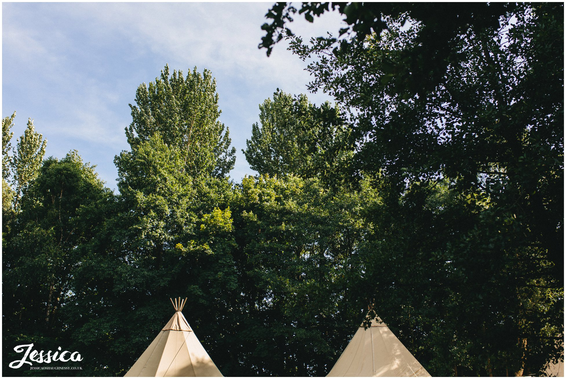 the tipi is set up in the field ready for the wedding reception