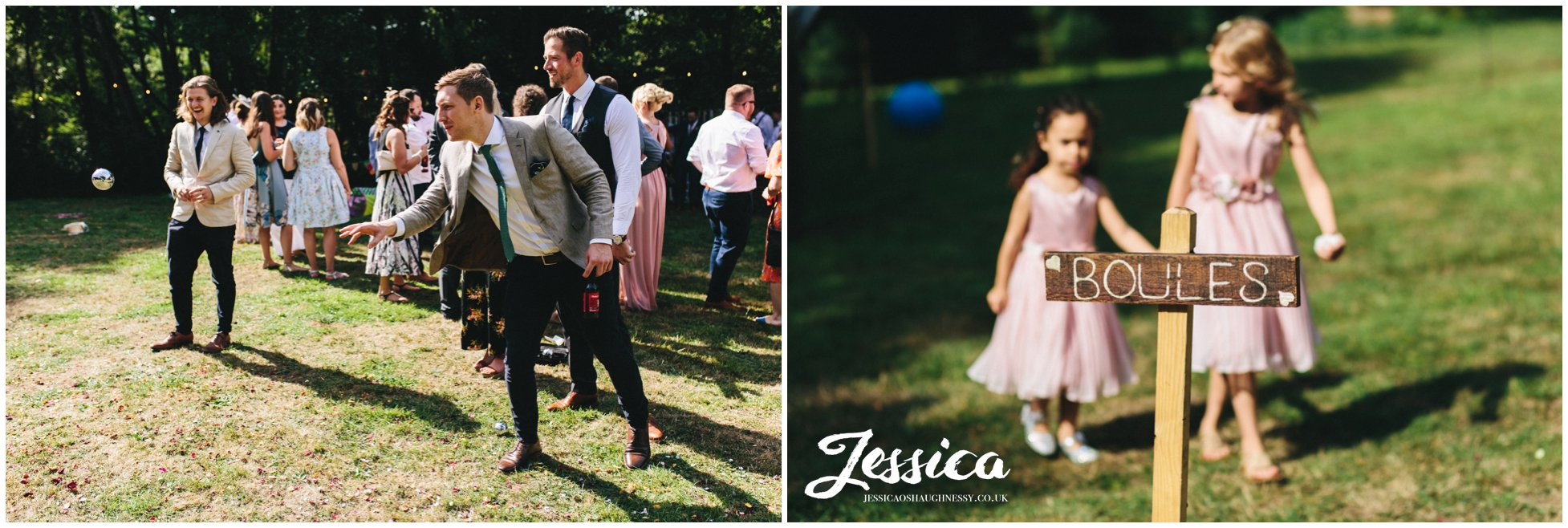 guests play lawn games at the tipi wedding at stonyford cottage gardens
