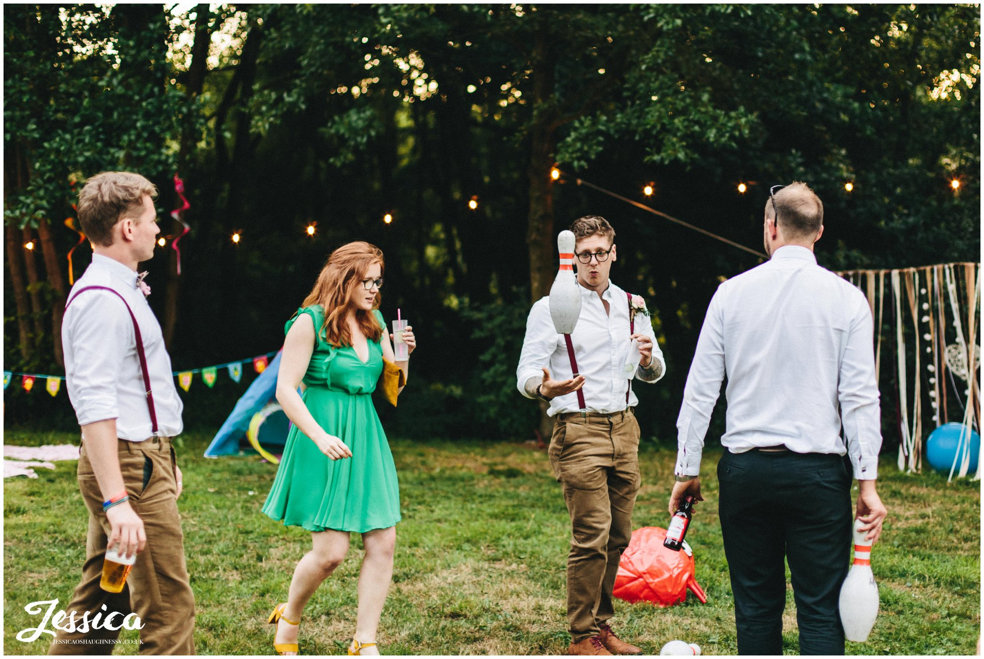 guests play with bowling pins during the reception in cheshire