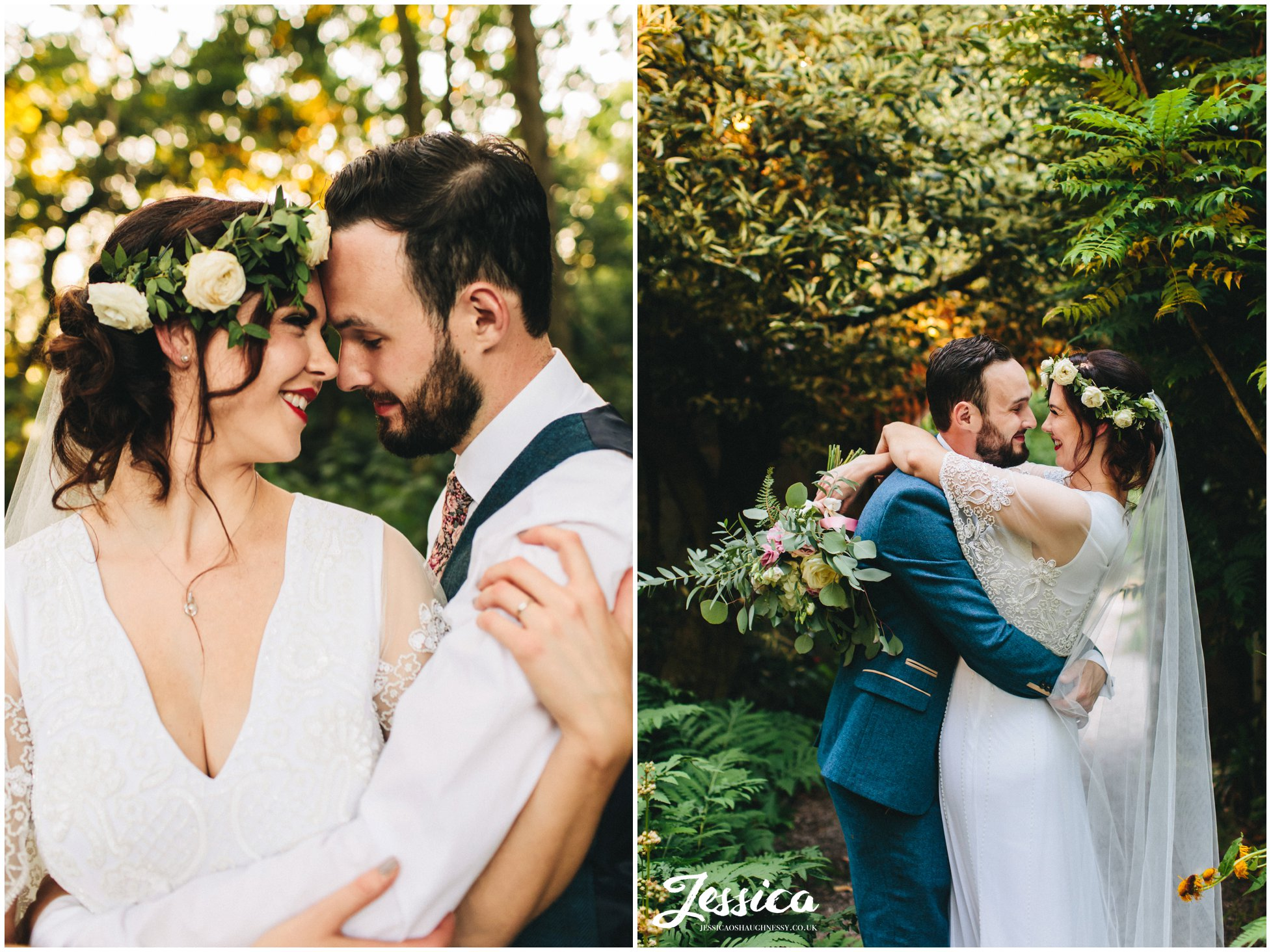 couple kiss in the woodland at their boho wedding