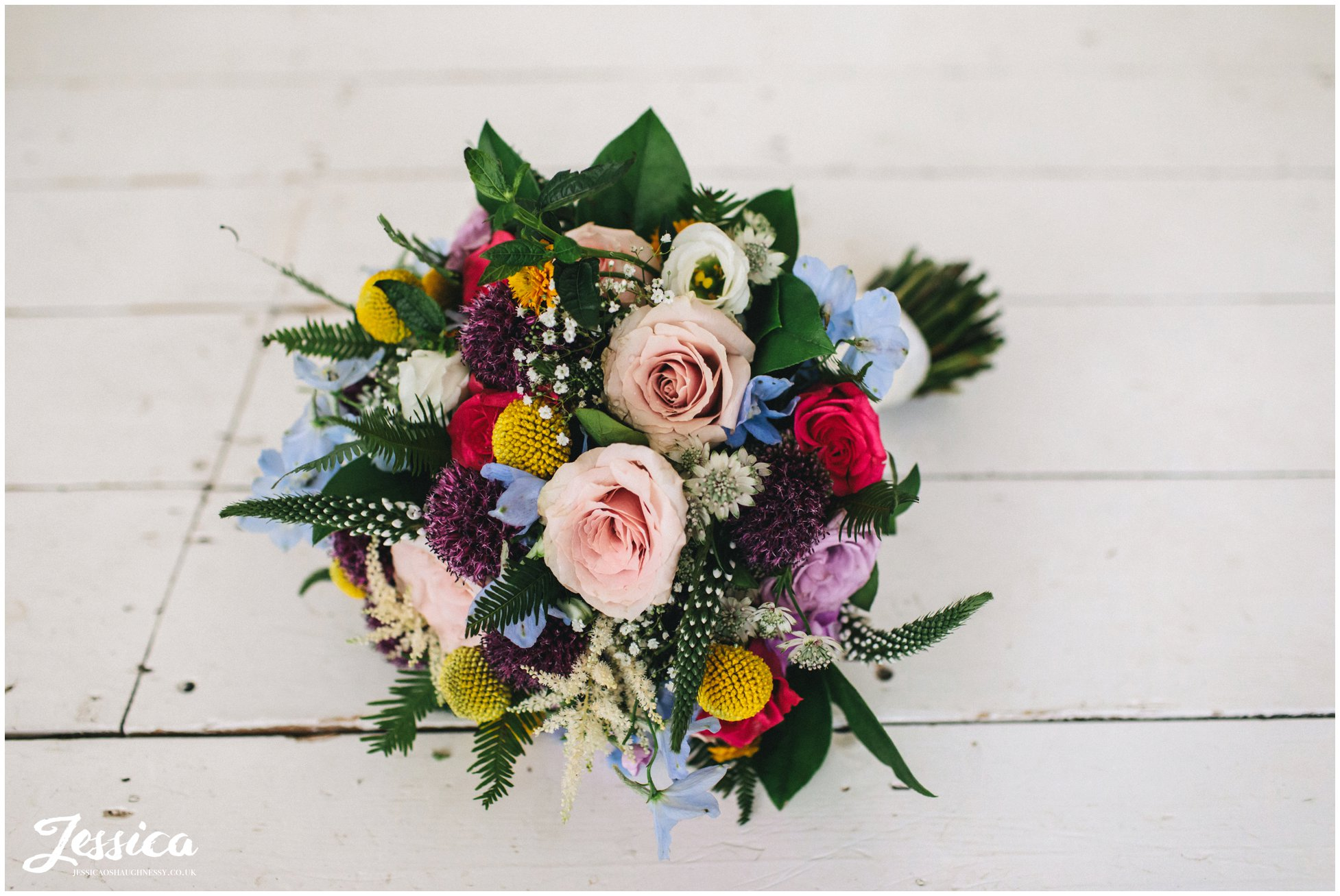 brightly coloured bridal bouquet