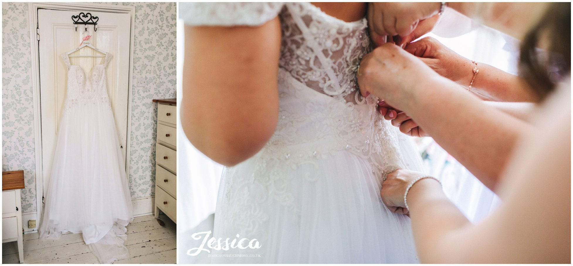 the brides family fasten the wedding dress buttons