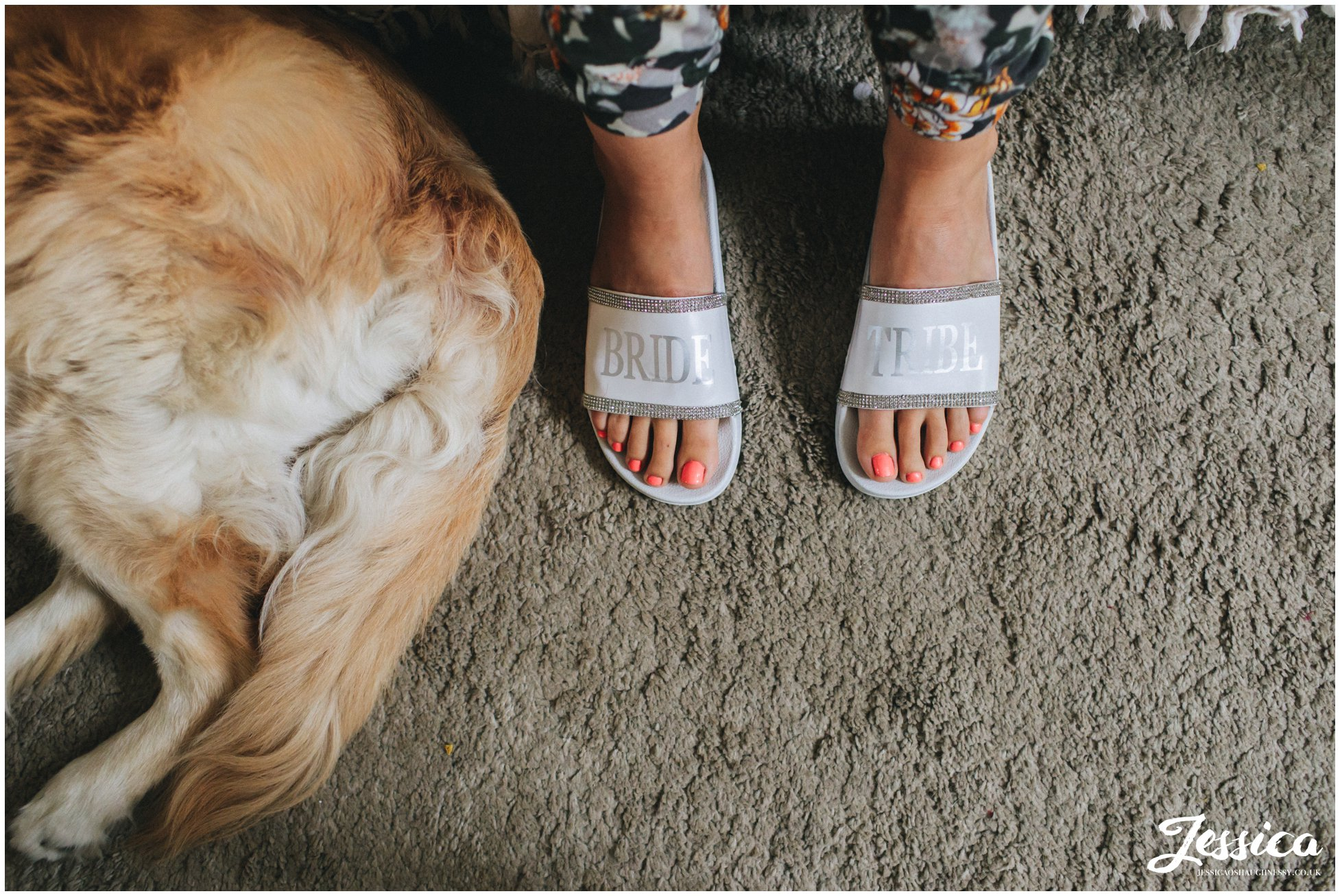 bridesmaids wear bride tribe slippers