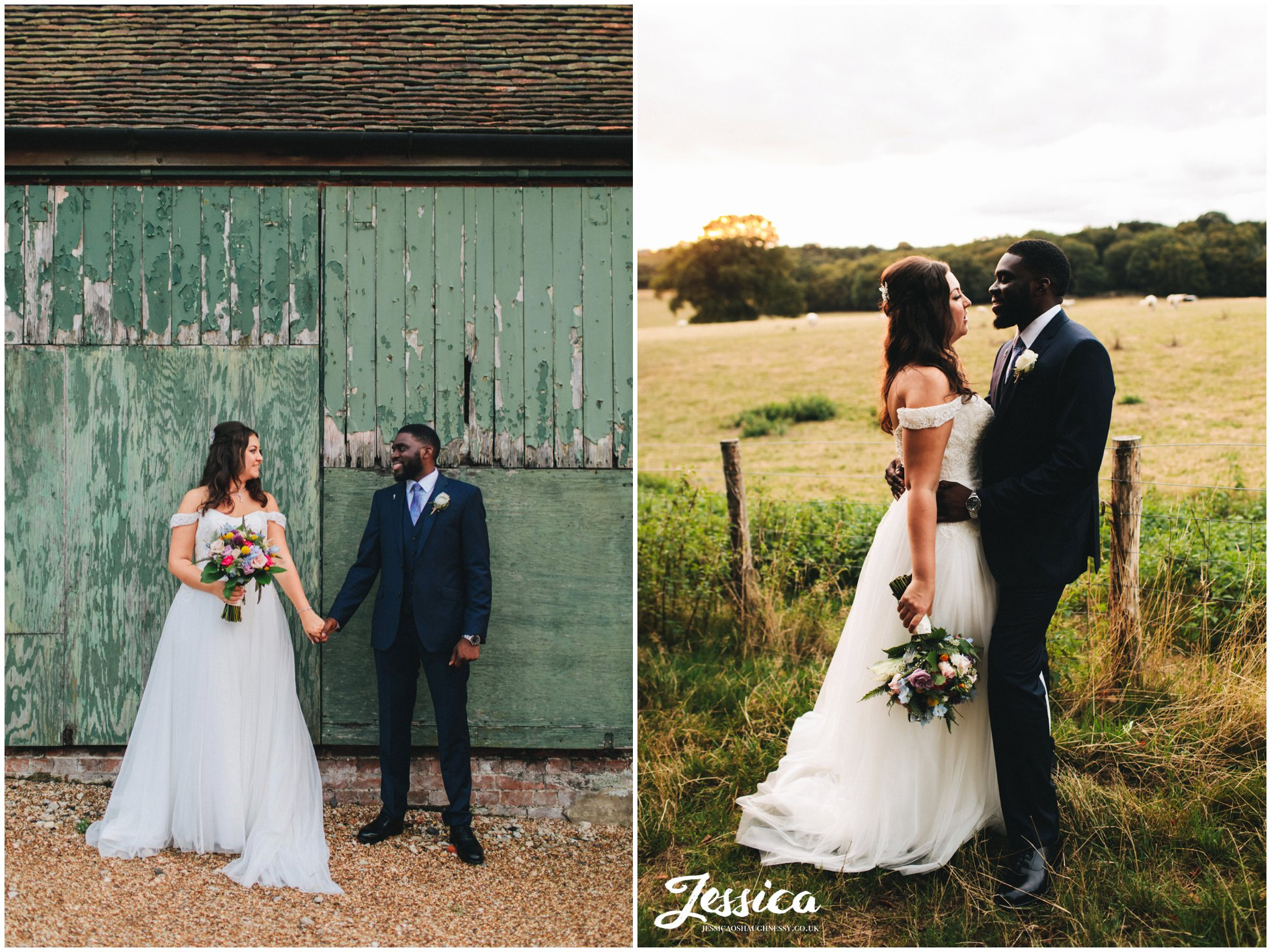 the couple stand against a rustic barn door