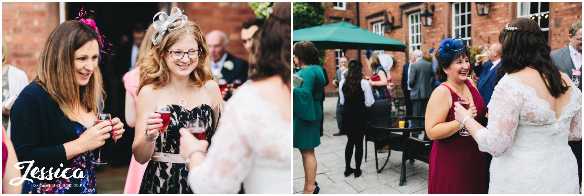 guests enjoy a champagne reception at nunsmere hall in cheshire