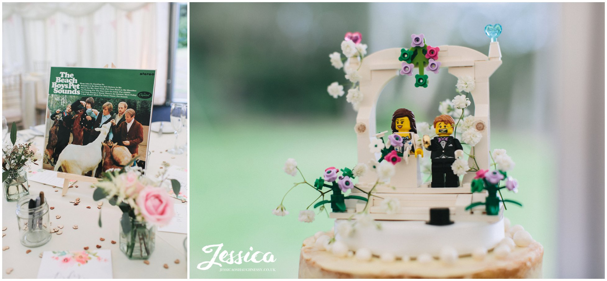 the wedding cake topped with lego characters