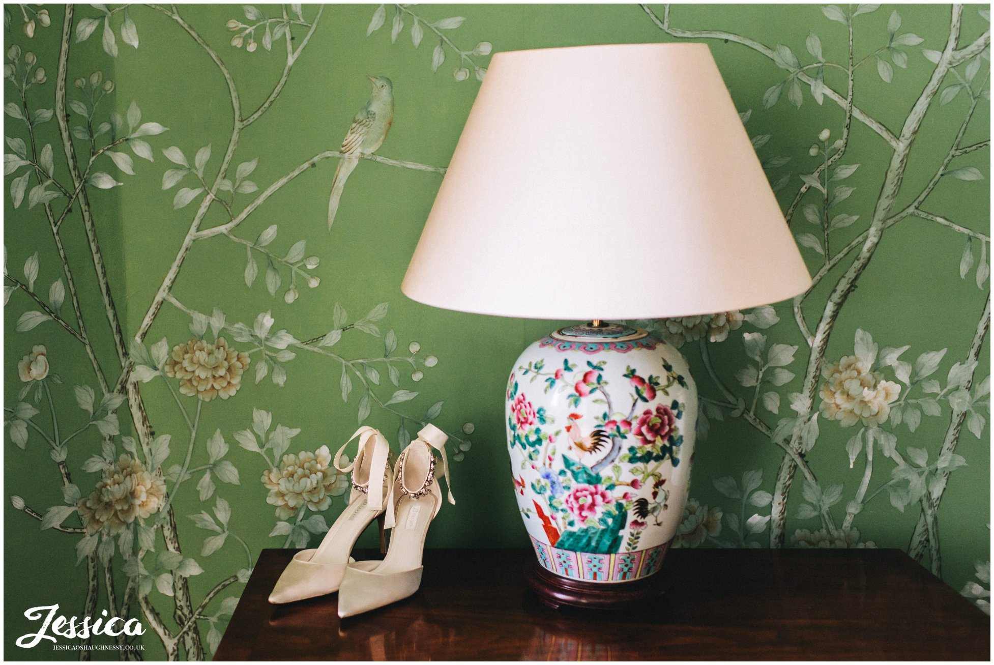 the brides shoes in the bridal suite at stubton hall
