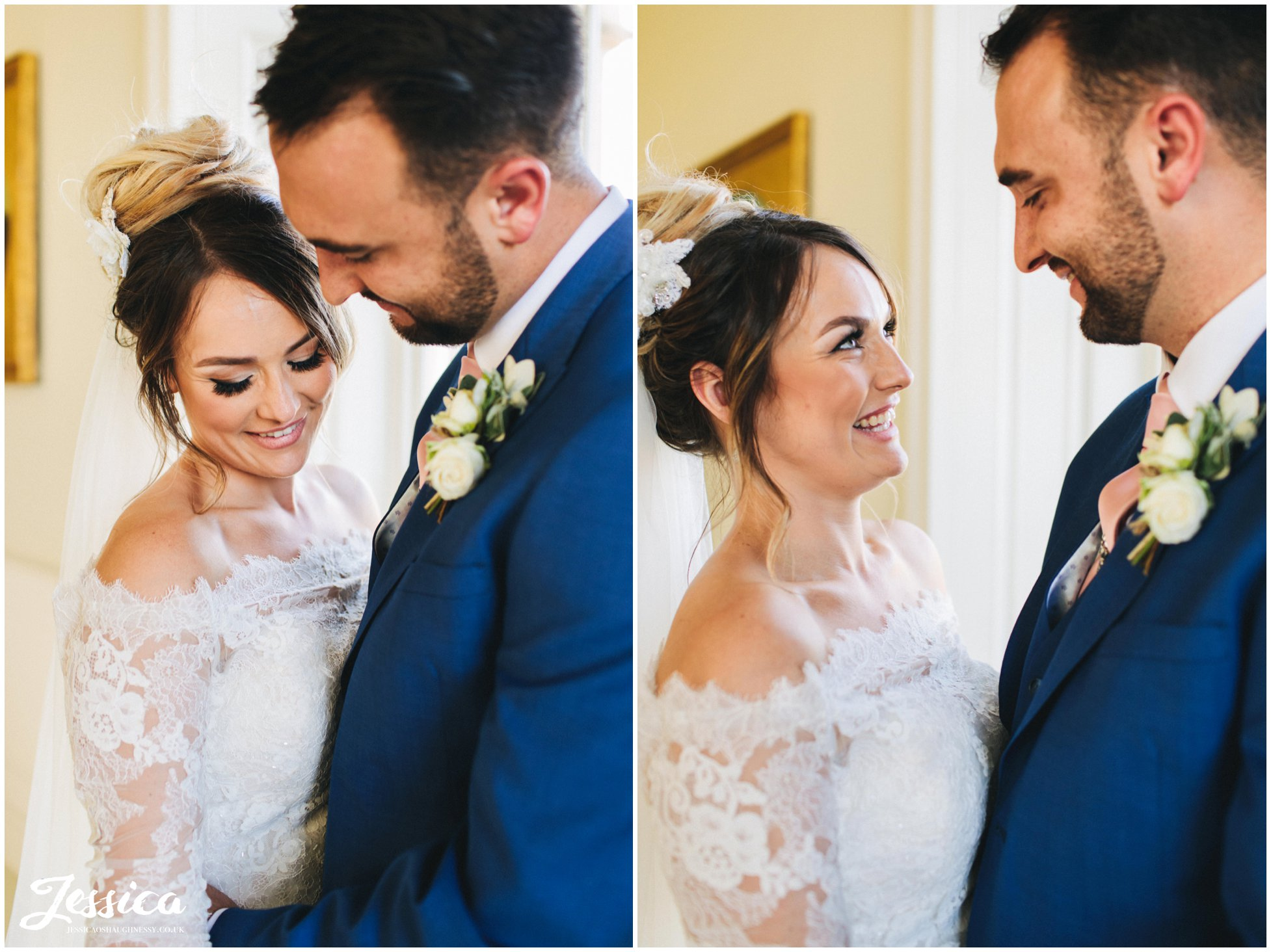 bride & groom laugh lovingly with each other