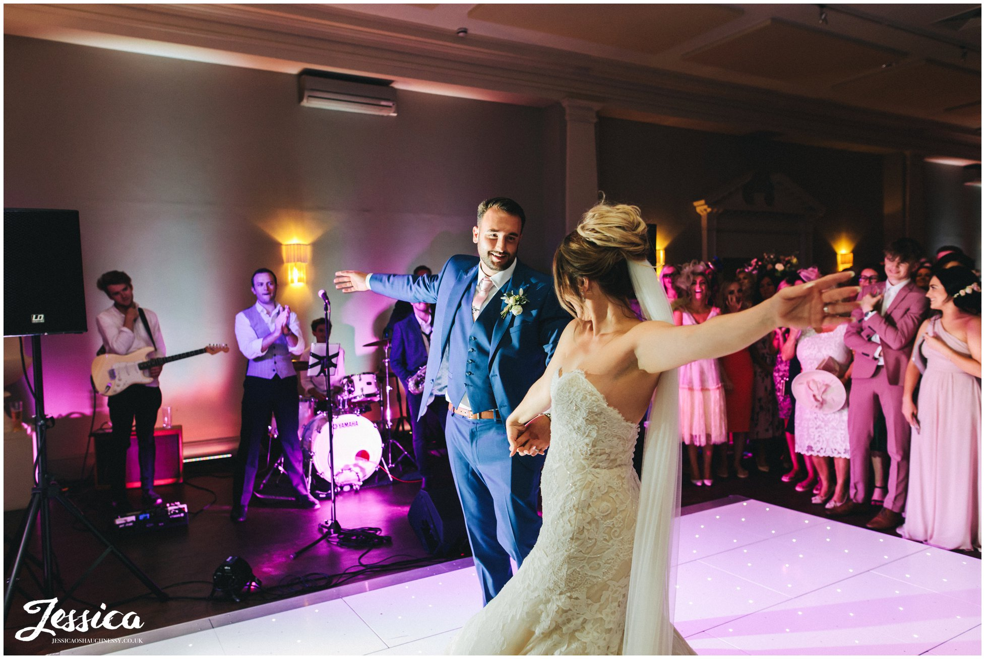 newly wed's share their first dance at stubton hall in newark