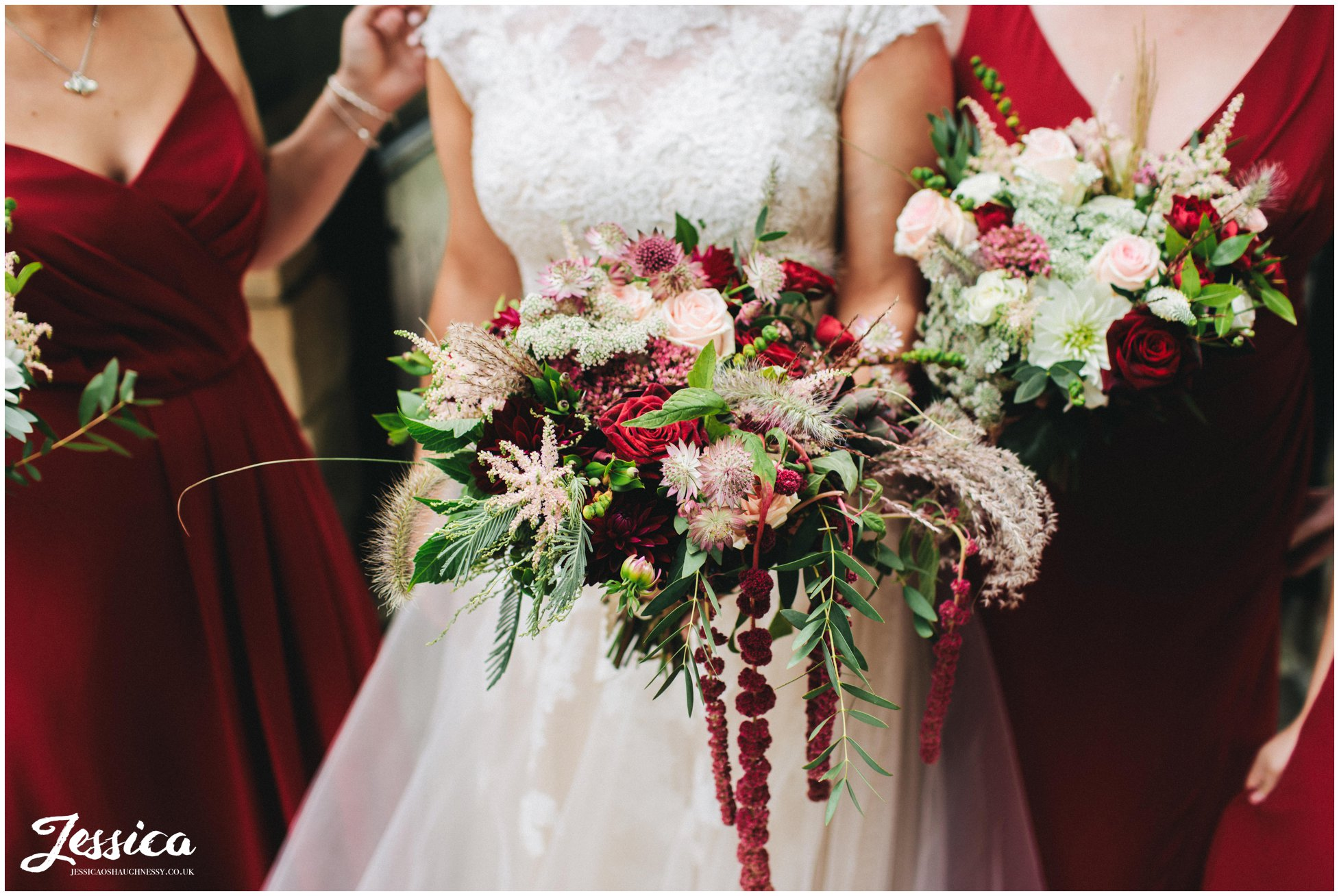 the bridal party hold rustic bouquets