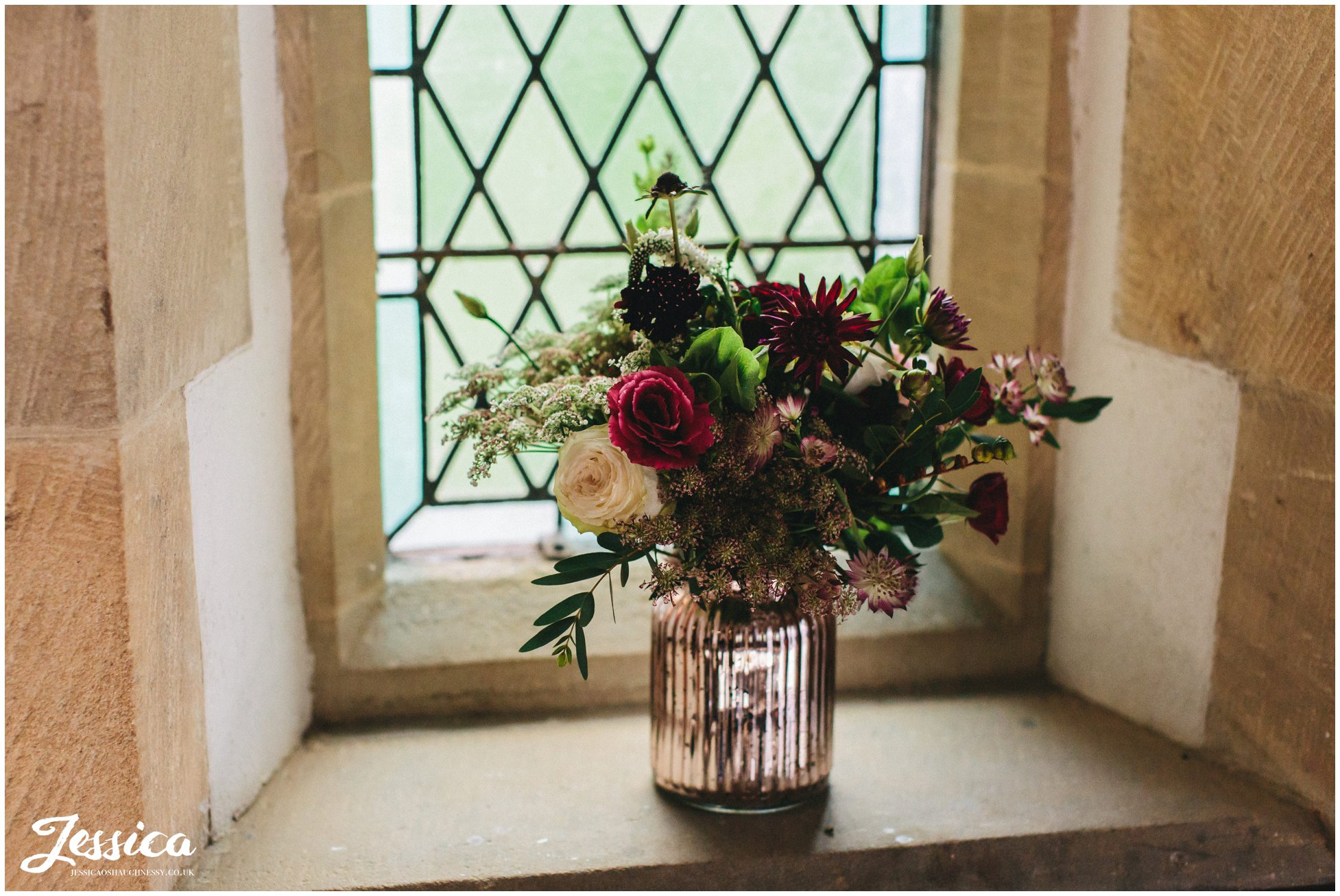 floral displays decorate the windows