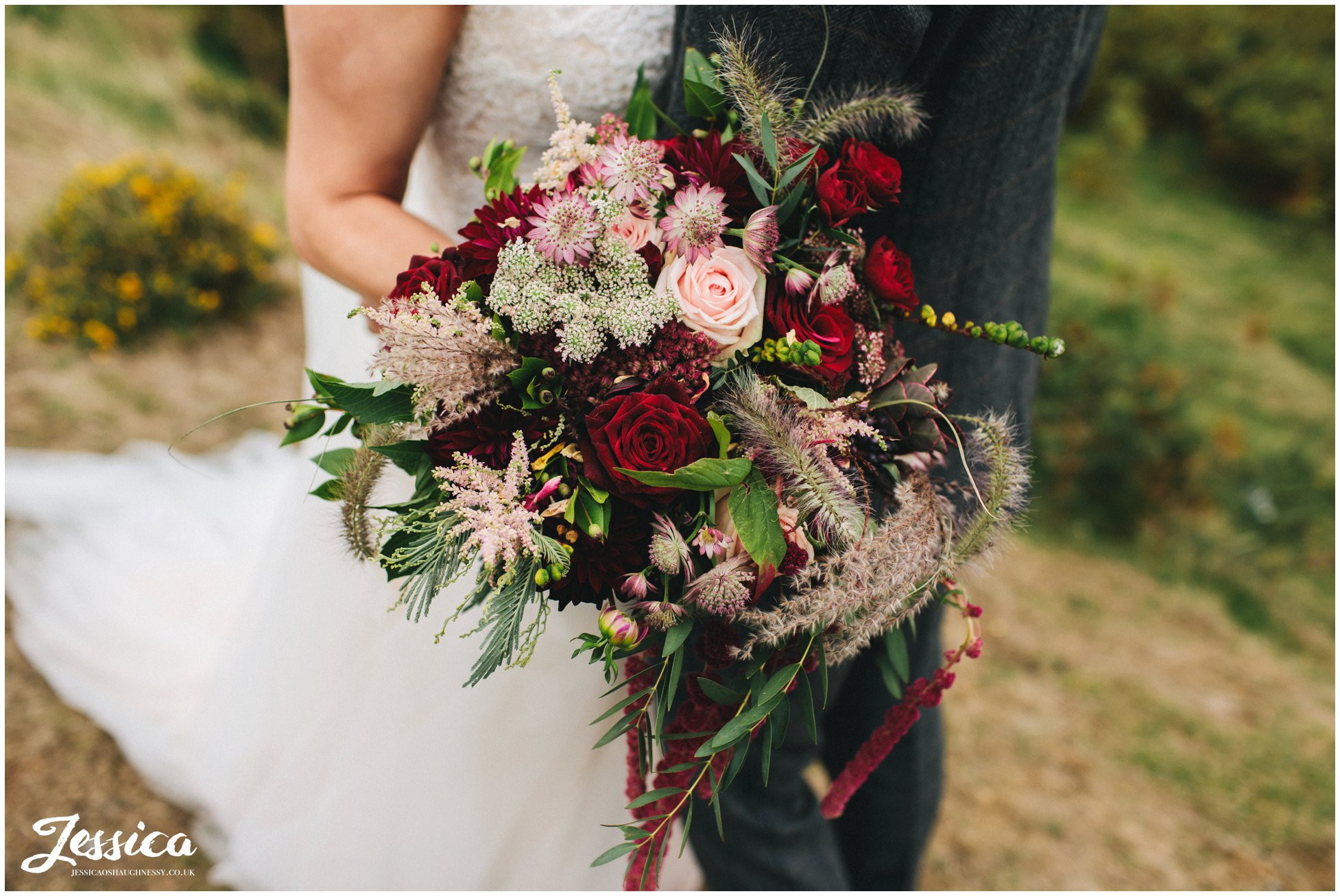 close up of the brides rustic bouquet