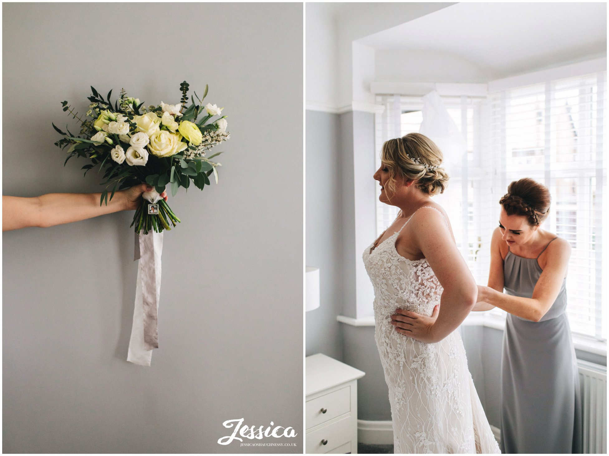 the maid of honour helps the bride into her wedding dress