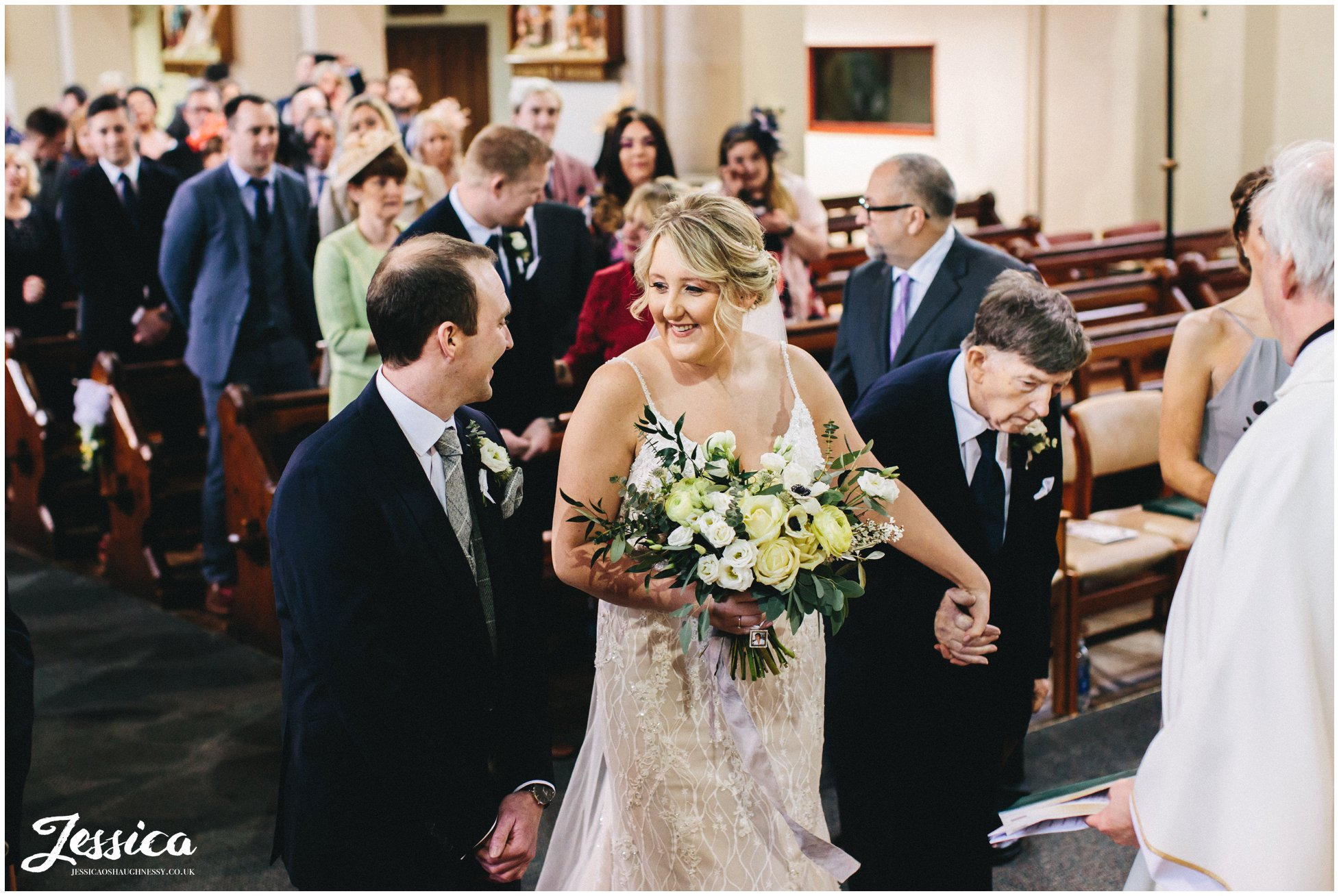 the bride & groom see each other for the first time