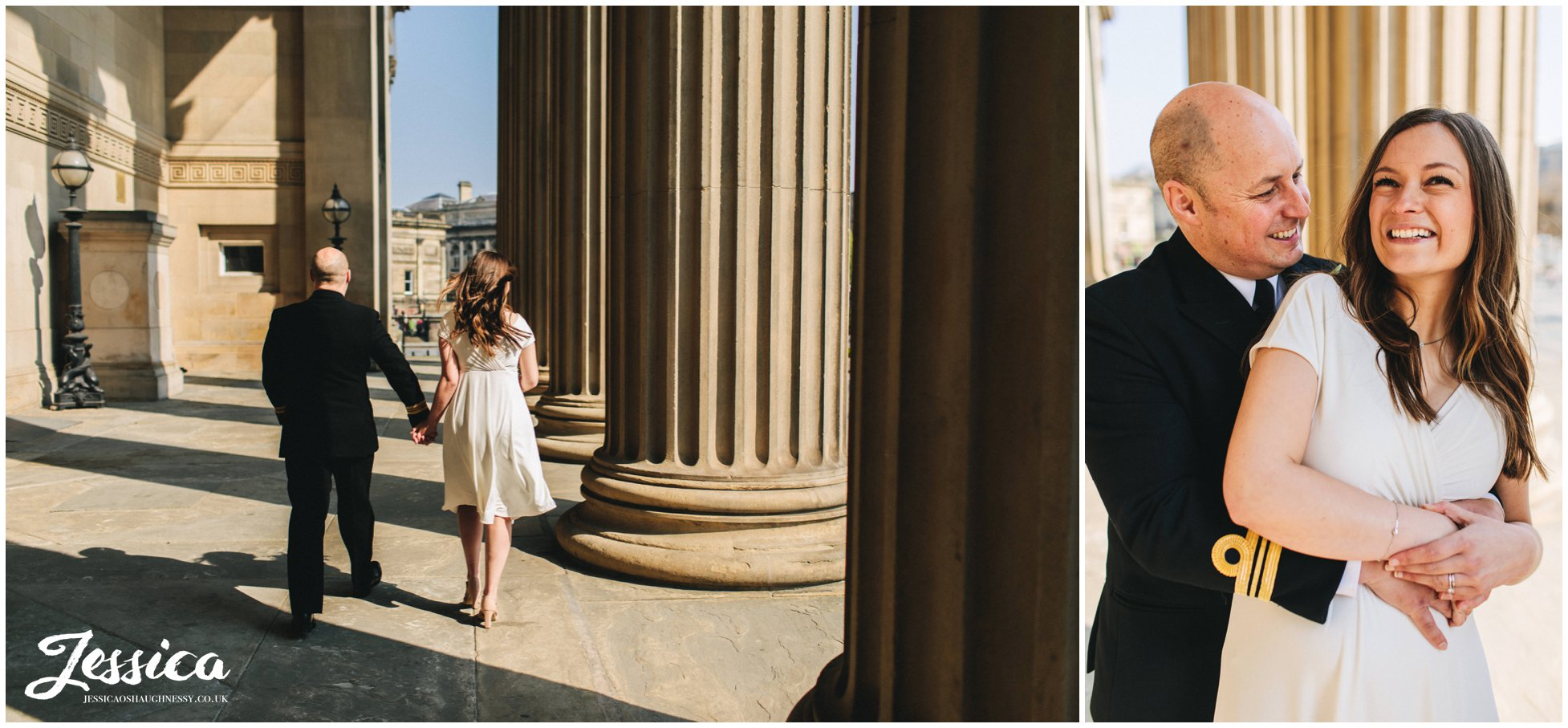 bride & groom under the columns at  st georges hall in liverpool