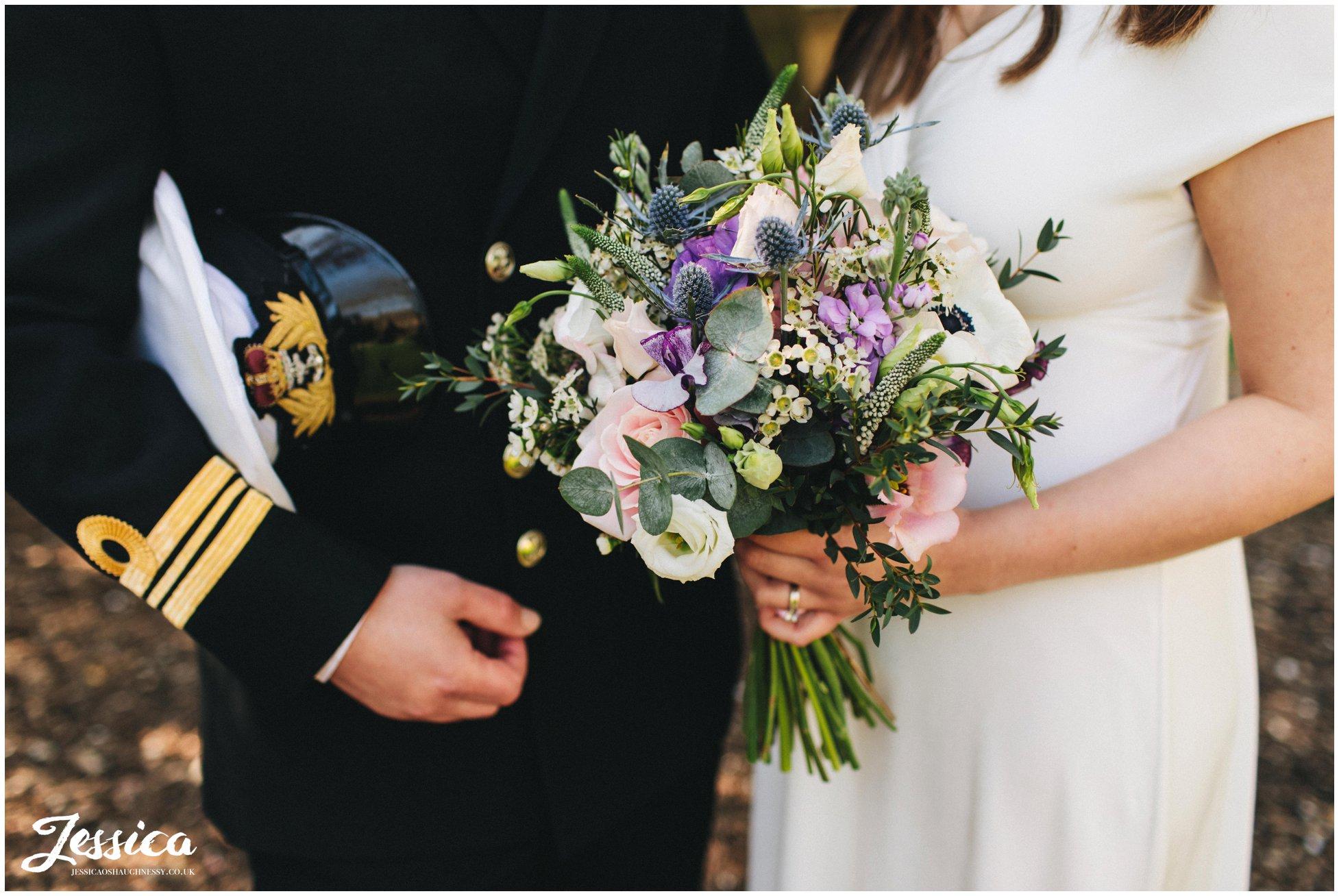 close up of the brides boho bouquet