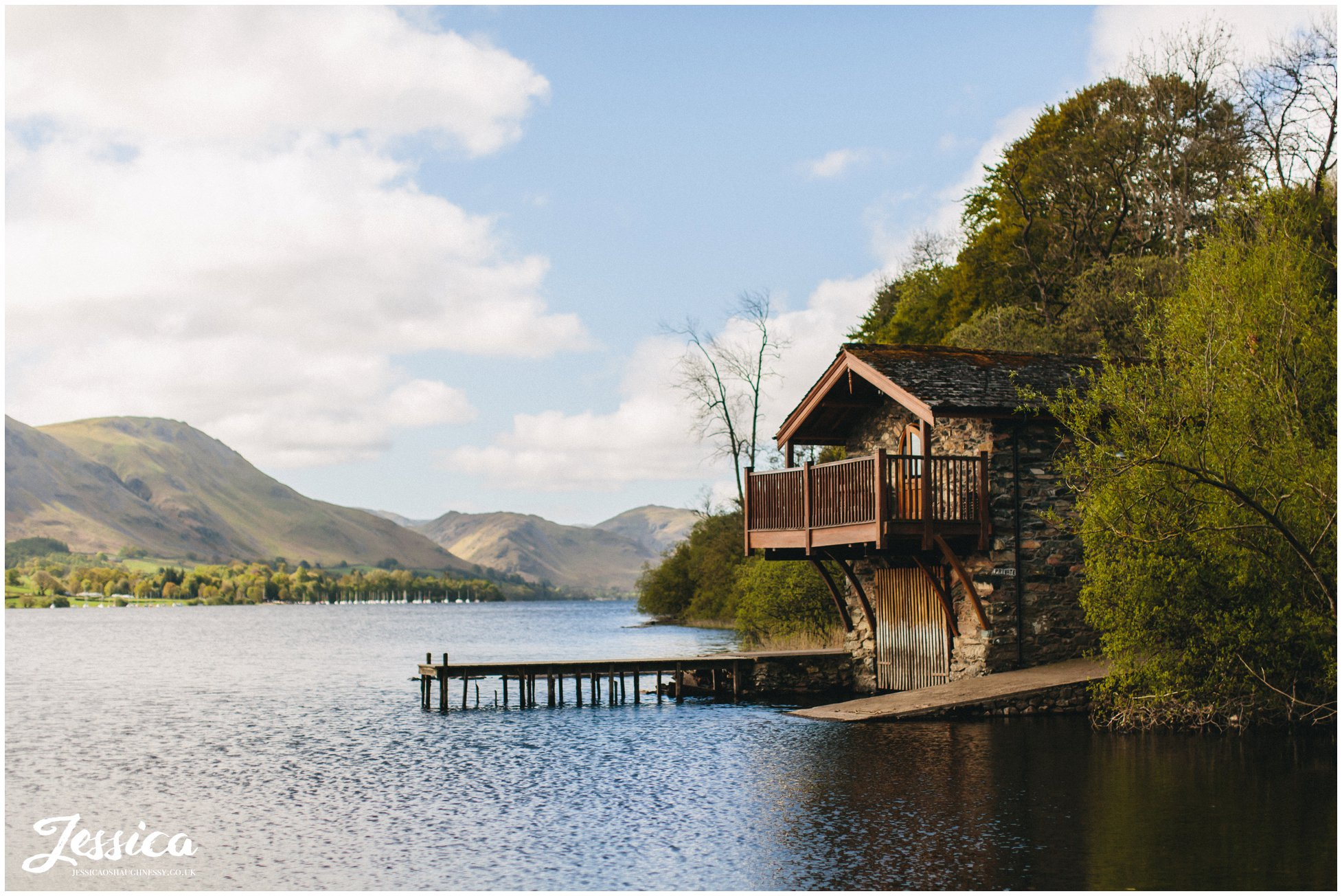 Grooms get ready in Pooley Bridge Boathouse in Ullswater