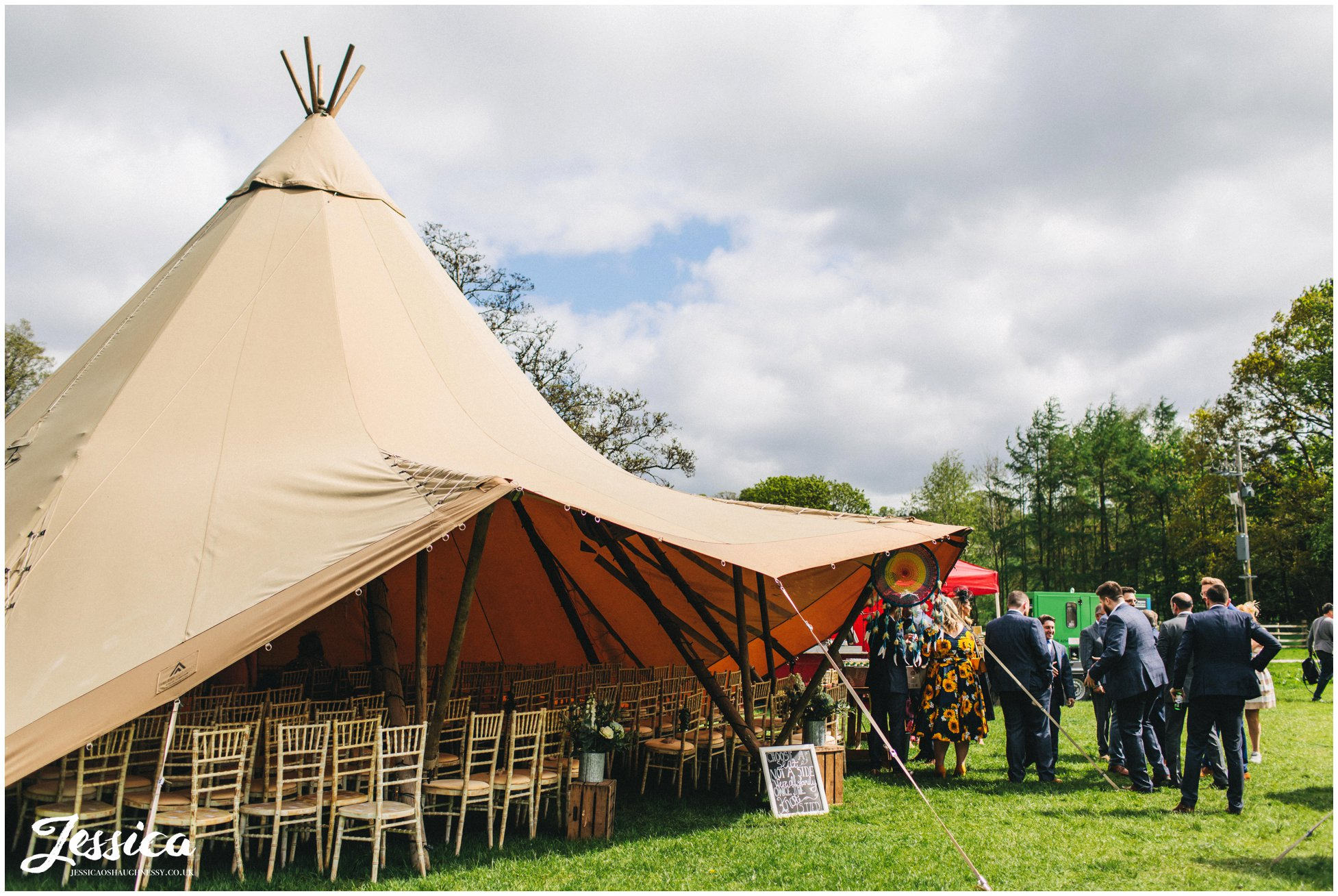 tipi set up ready for the wedding ceremony in the lakes