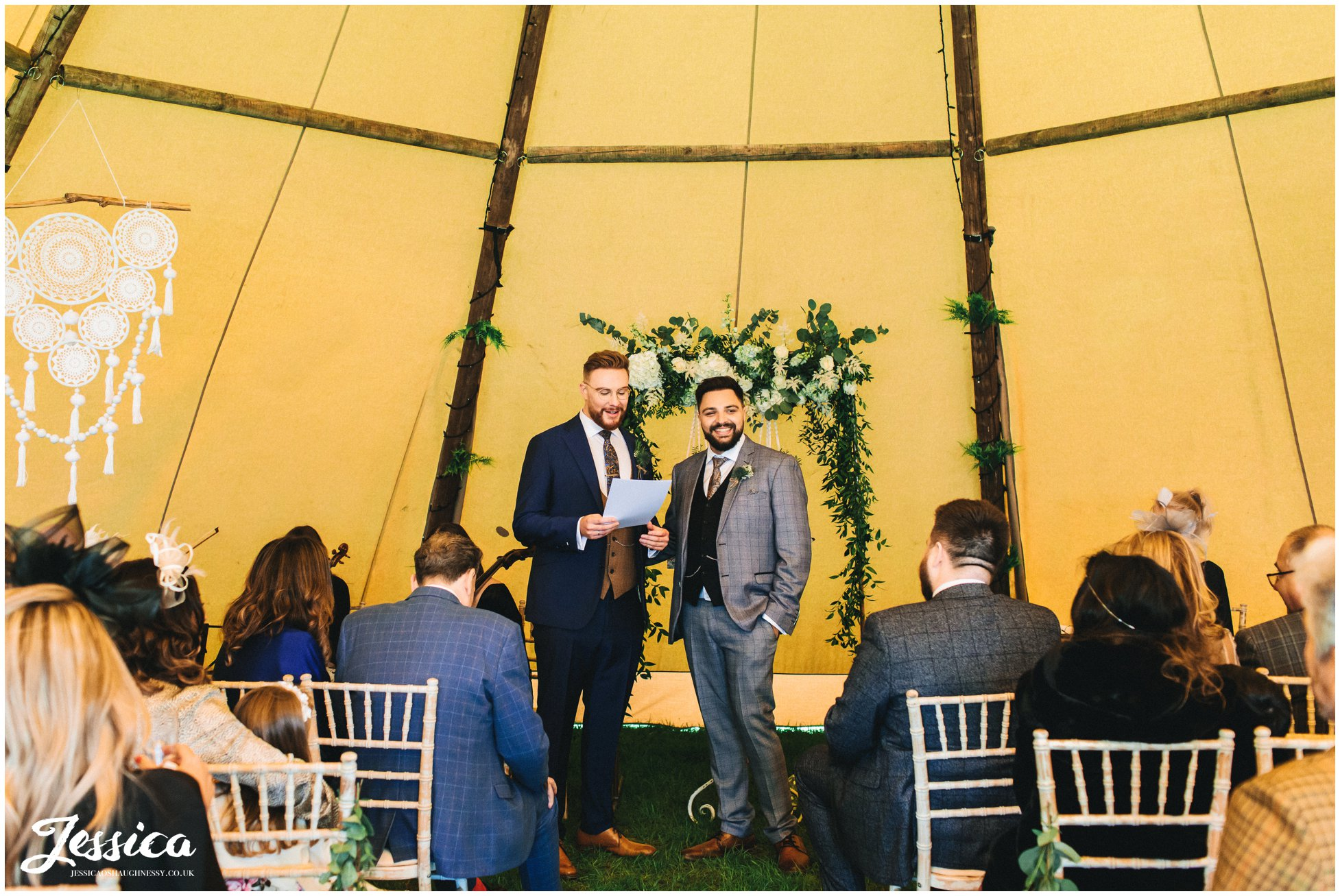 The grooms give speeches during their tipi ceremony