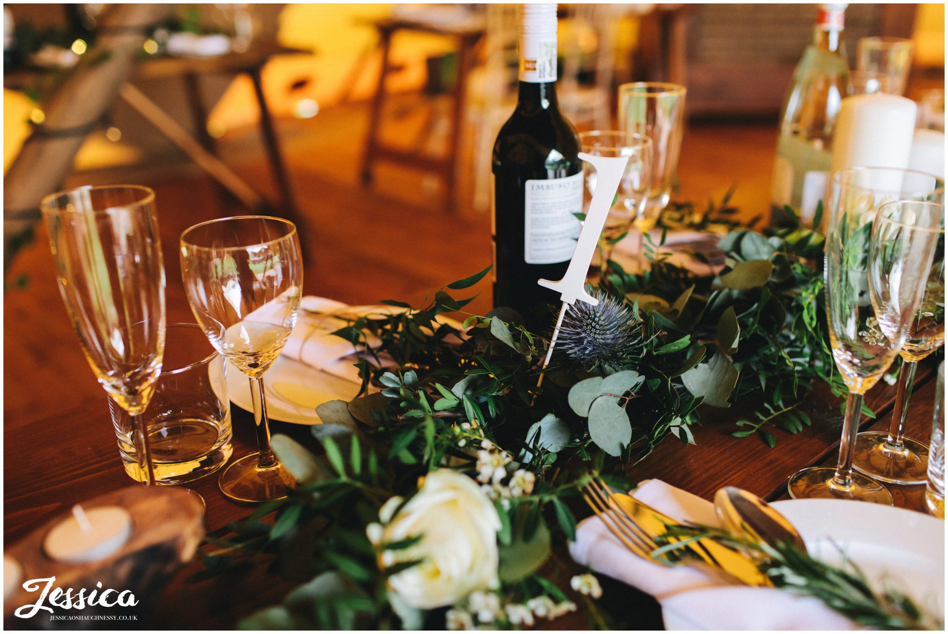 tables are decorates with subtle, classic decorations