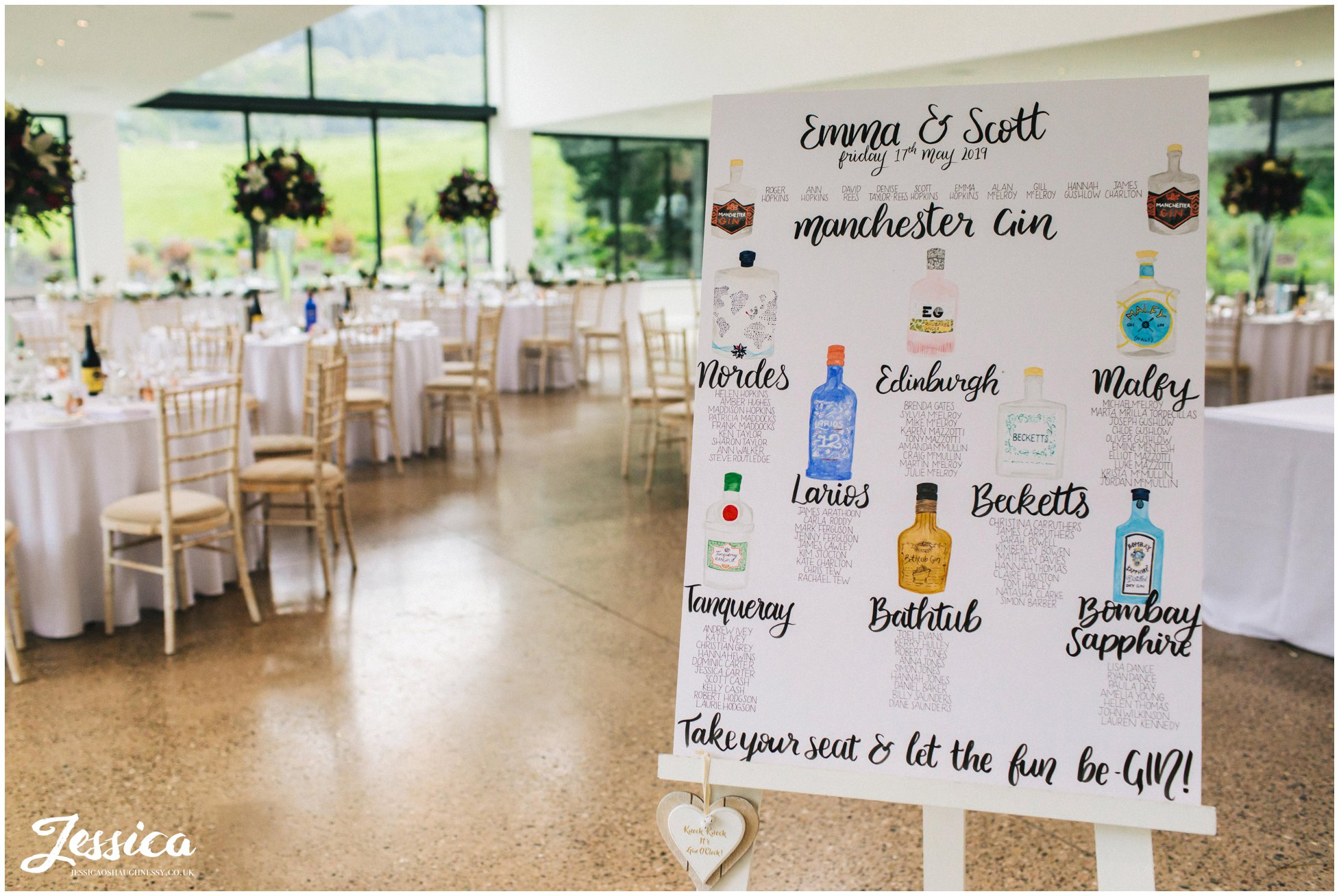 gin inspired table plan at tyn dwr hall