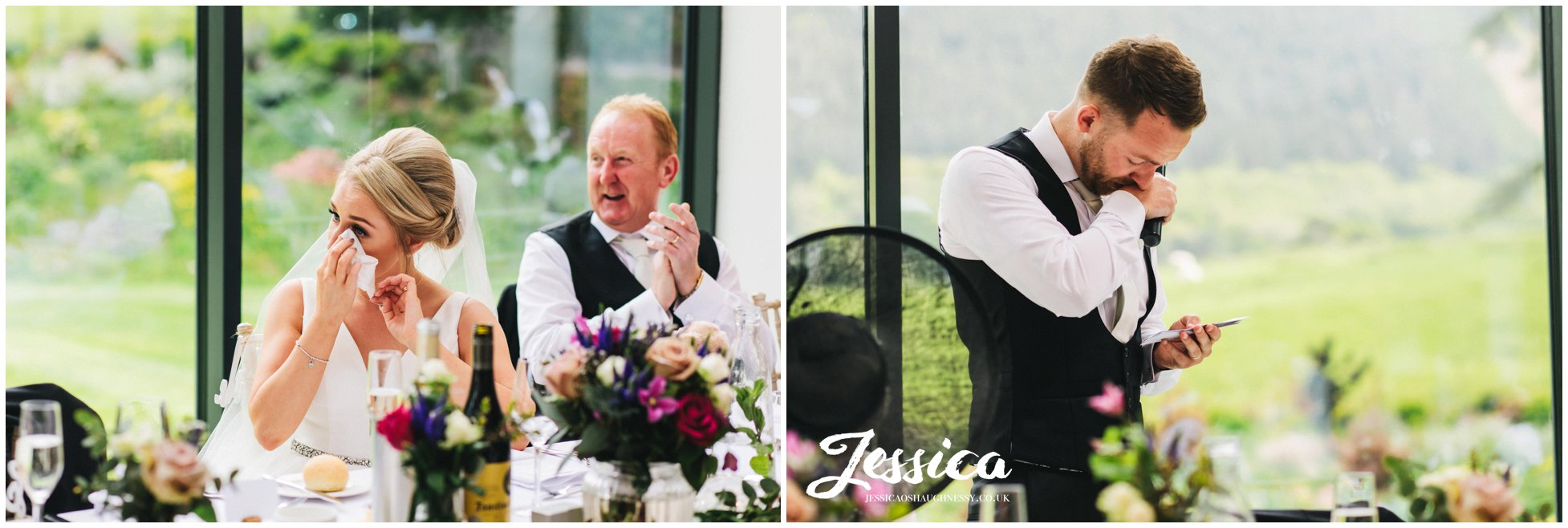 groom gives emotional speech as the bride cries