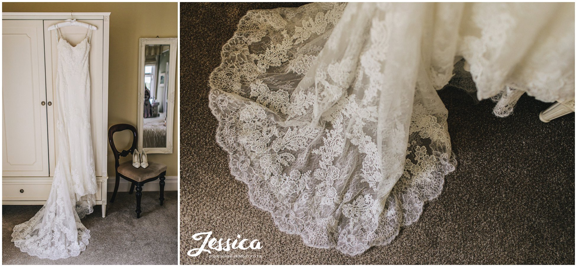 wedding dress hanging in mere brook house