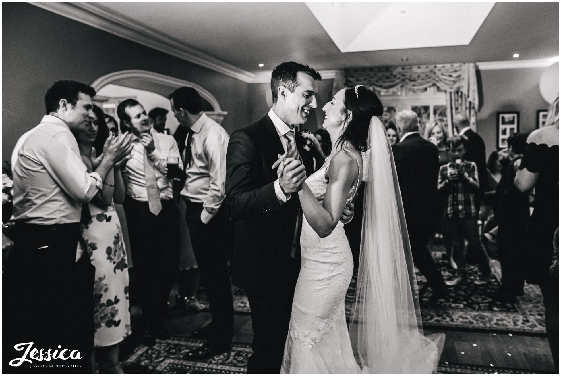 newly wed's share their first dance at mere brook house, wirral wedding