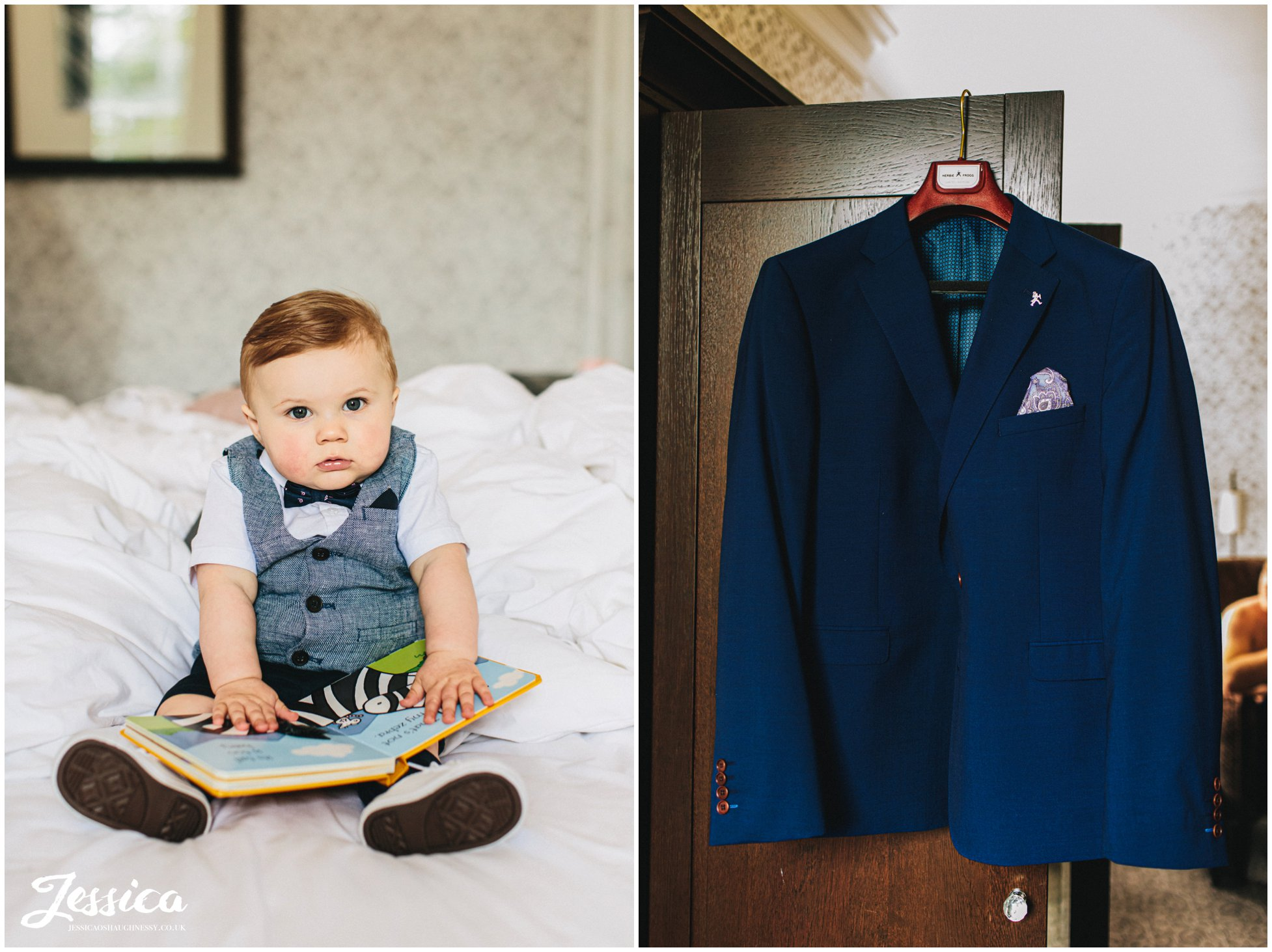 bride & grooms baby dressed in suit