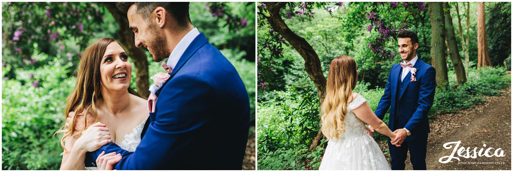 the bride and groom have their portraits taken in the woods