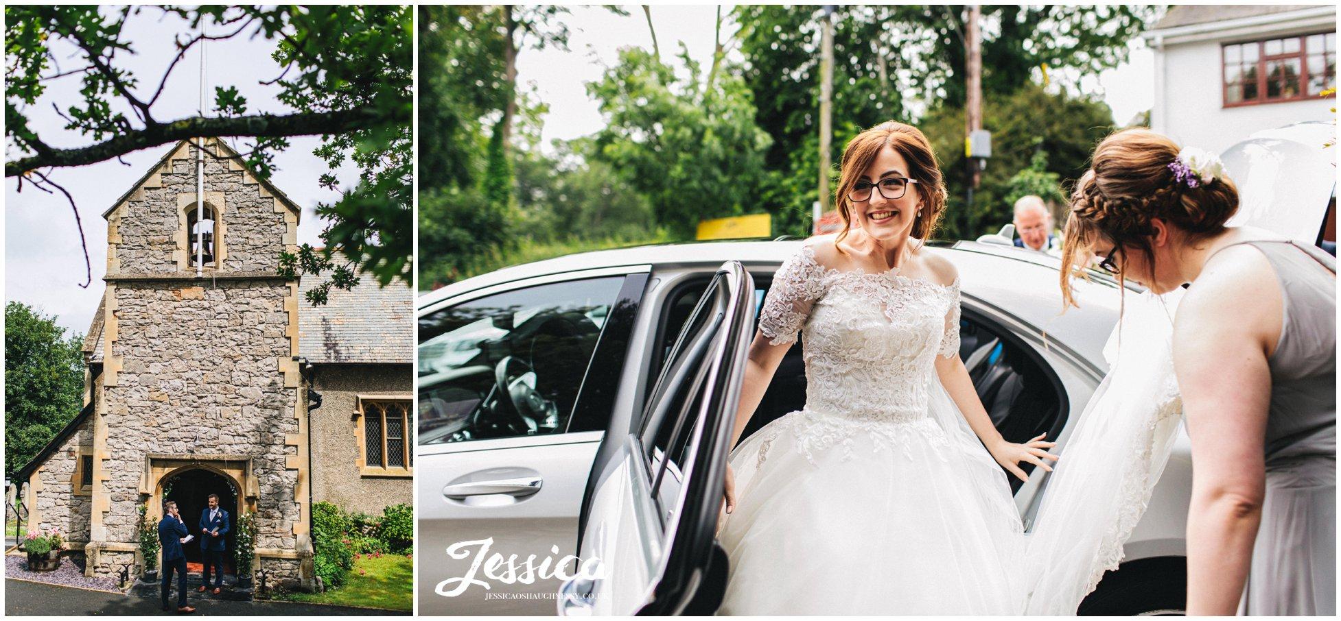 bride arrives at quaint welsh church