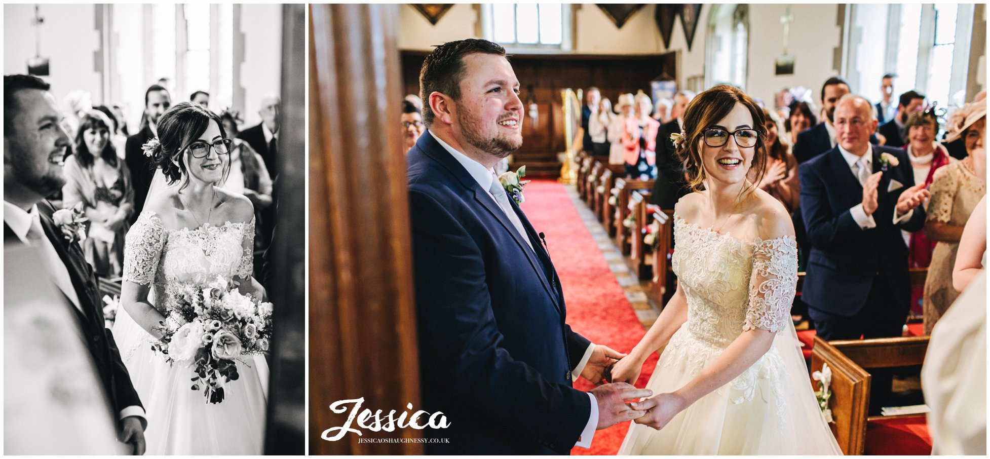 couple exchange vows at their church wedding