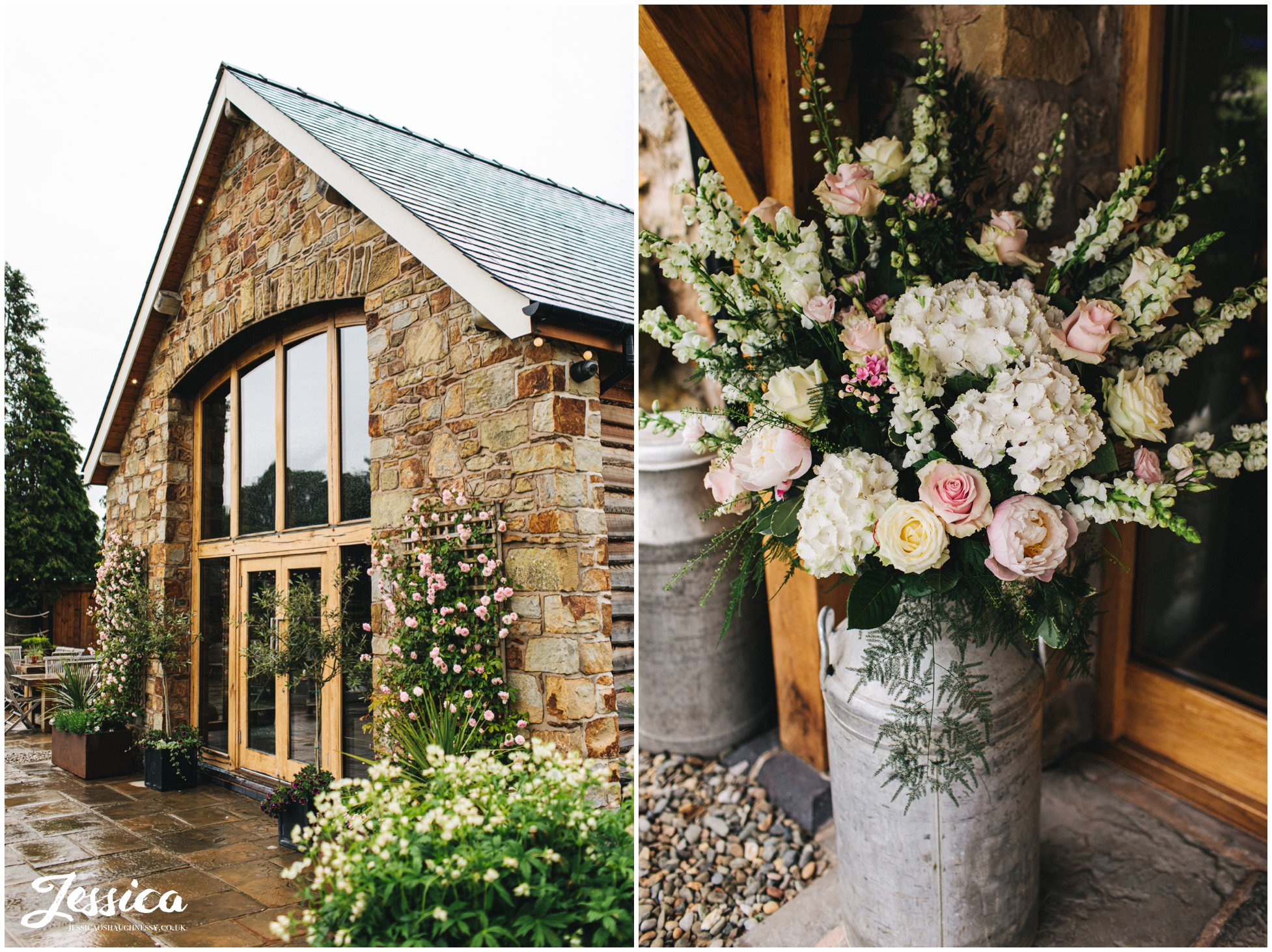 flowers decorate the barn wedding venue