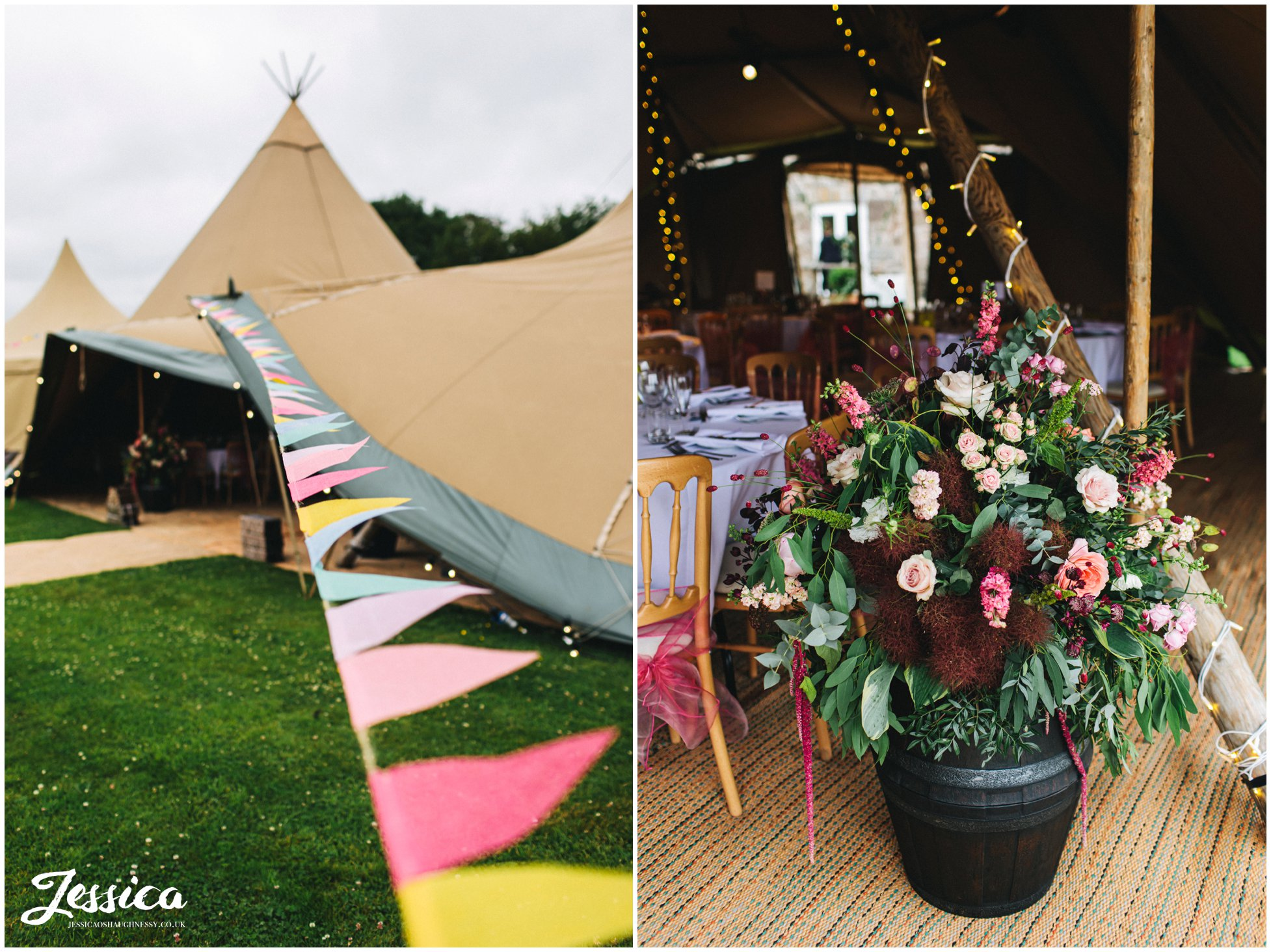 bunting and flowers decorate the wedding tipi in north wales