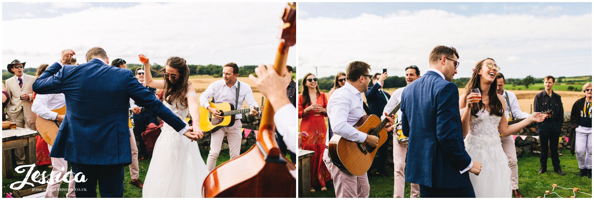 bride & groom dance to the band at the north wales wedding