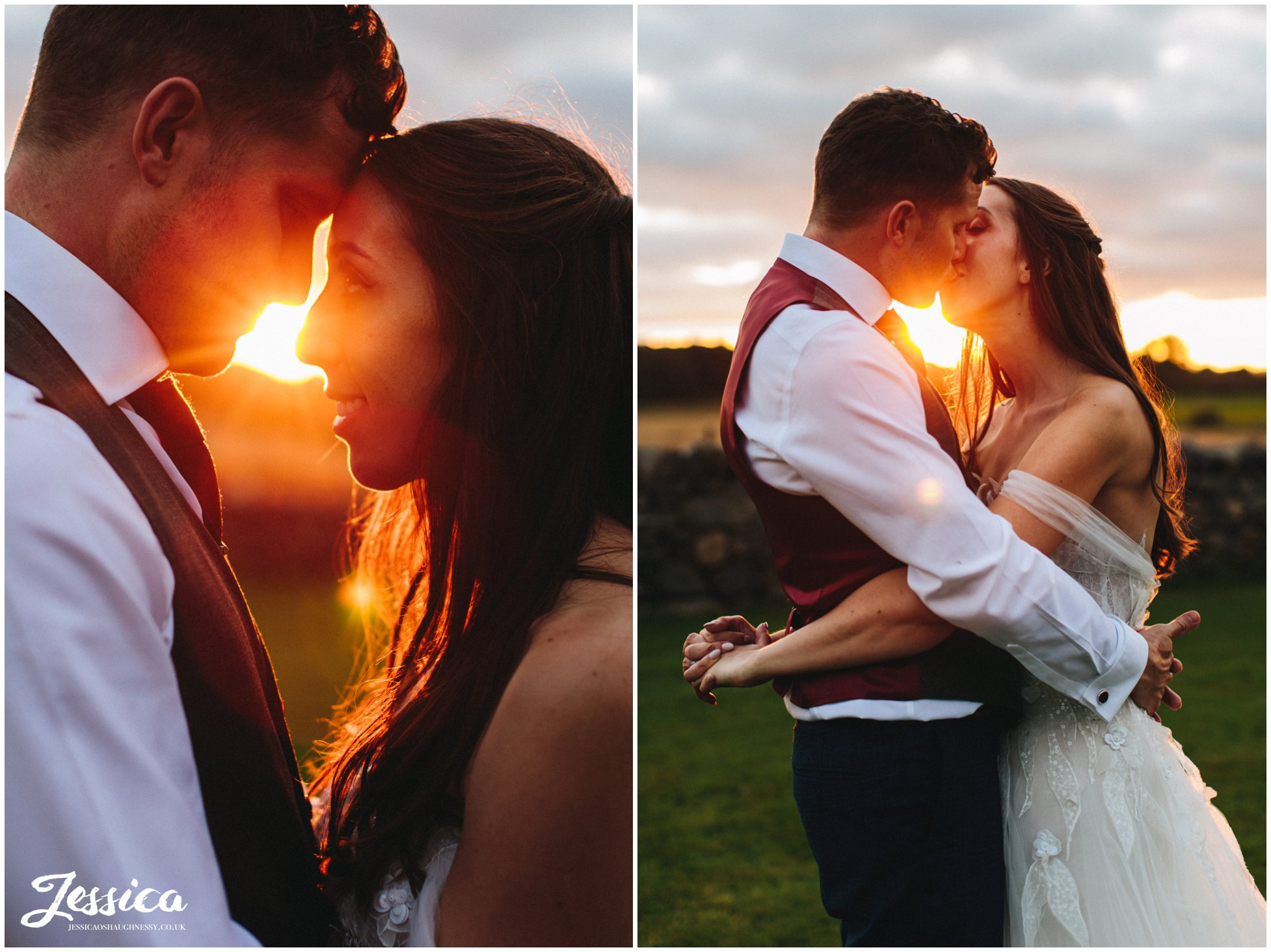 bride & groom kiss in the golden light at the outbuildings